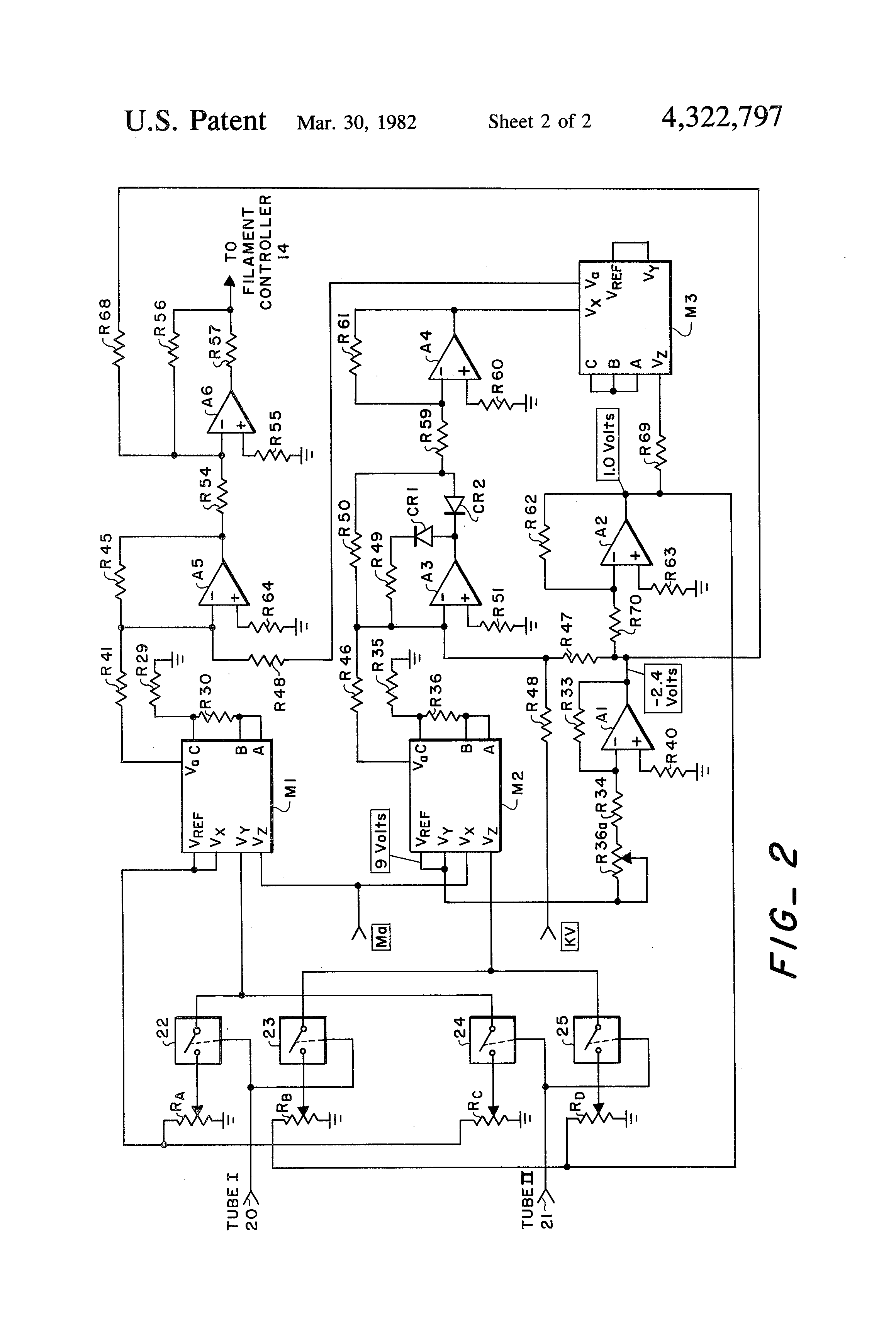 patent us4322797 - x-ray tube filament current predicting circuit