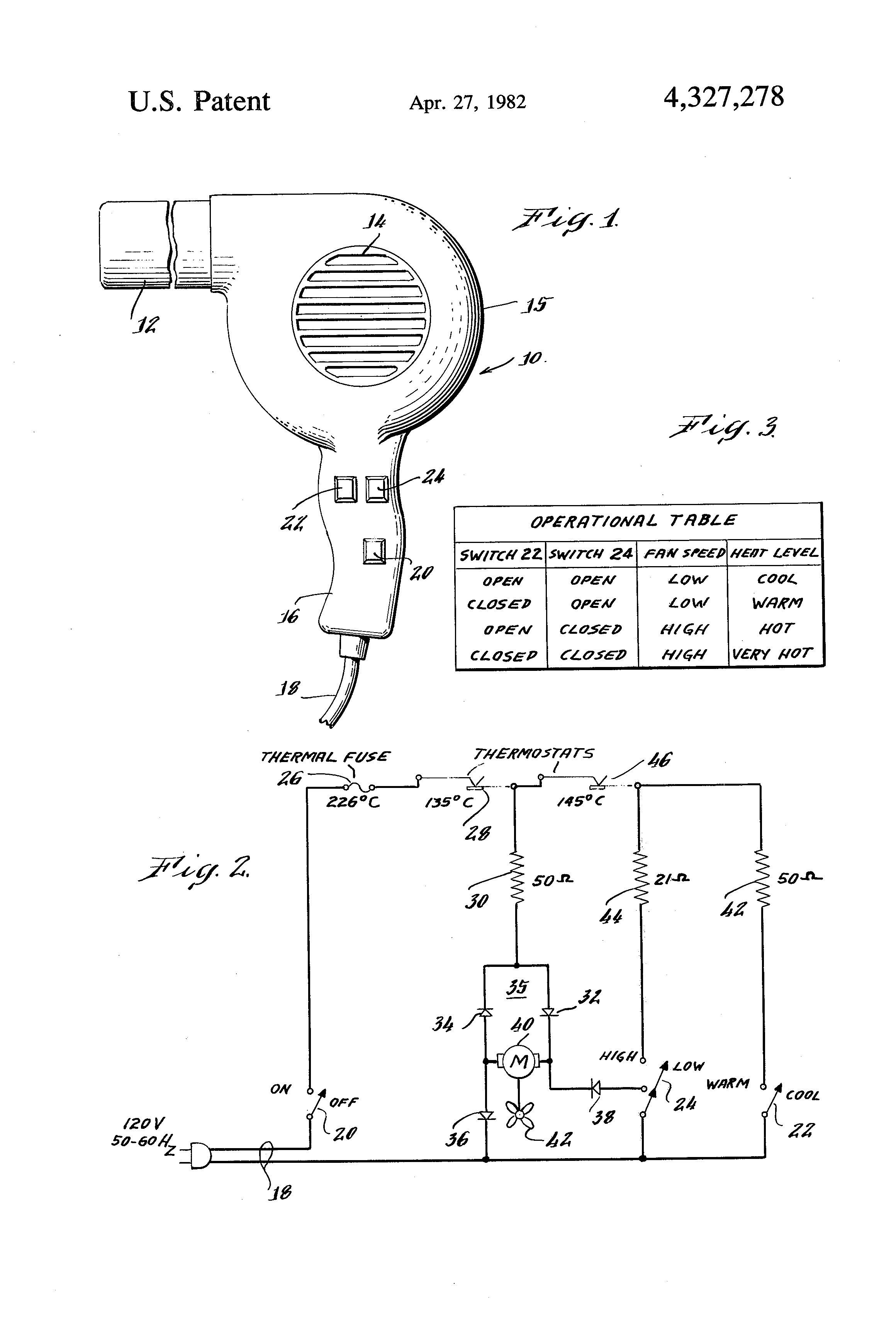 Patent Us4327278 Simplified Multiple Speed Hair Dryer