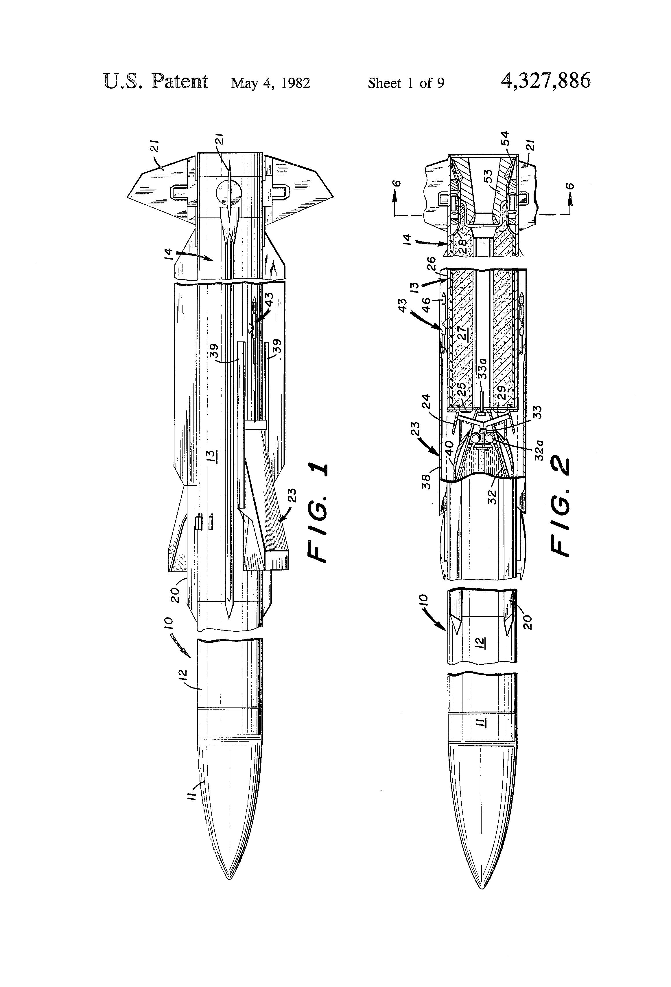 patent us4327886 - integral rocket ramjet missile