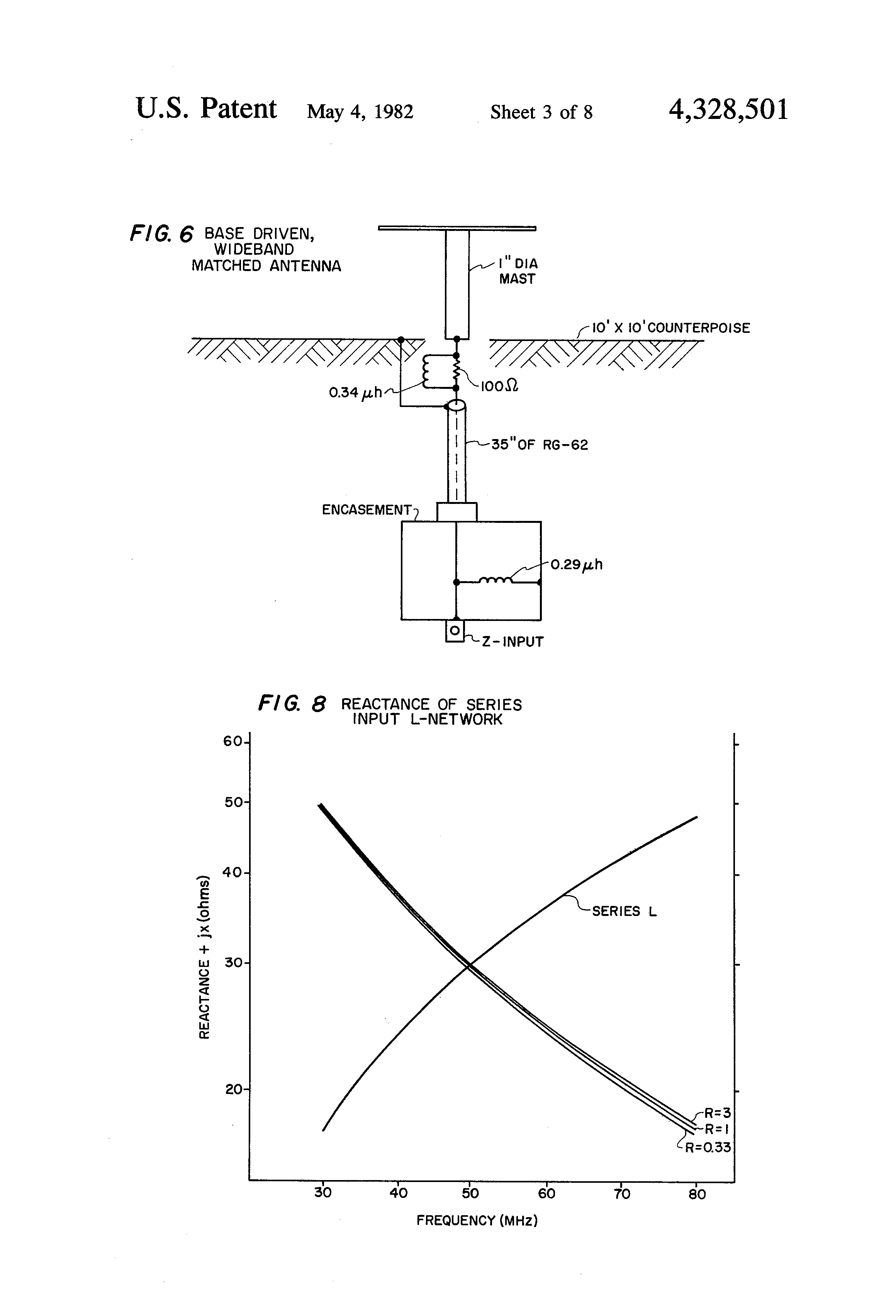 Patent Us4328501 Small Broadband Antennas Using Lossy Matching Resistorinductor Circuits Reactance And Impedance Inductive Drawing