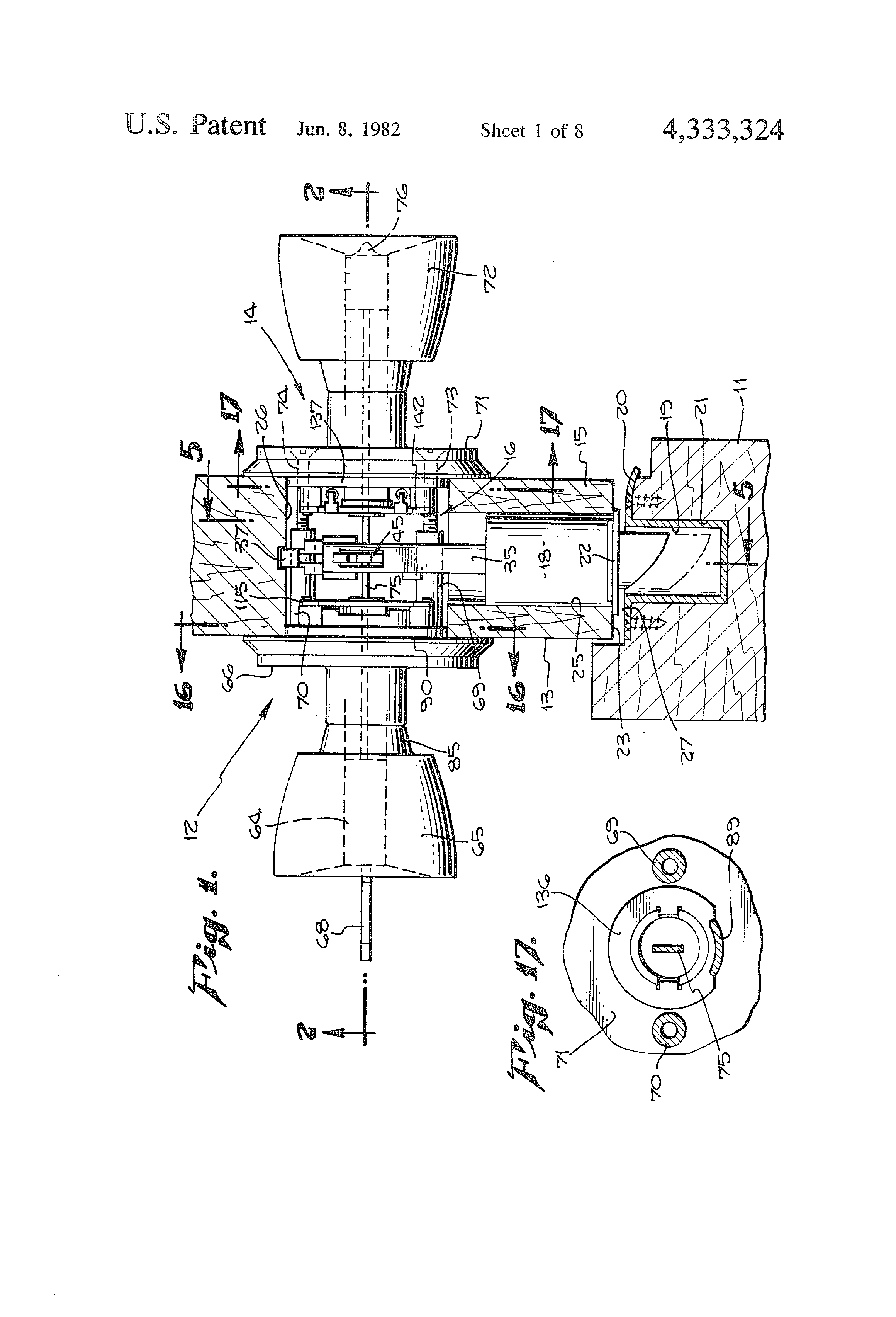 Patent Us4333324 Spring Dead Bolt Lock Assembly Google