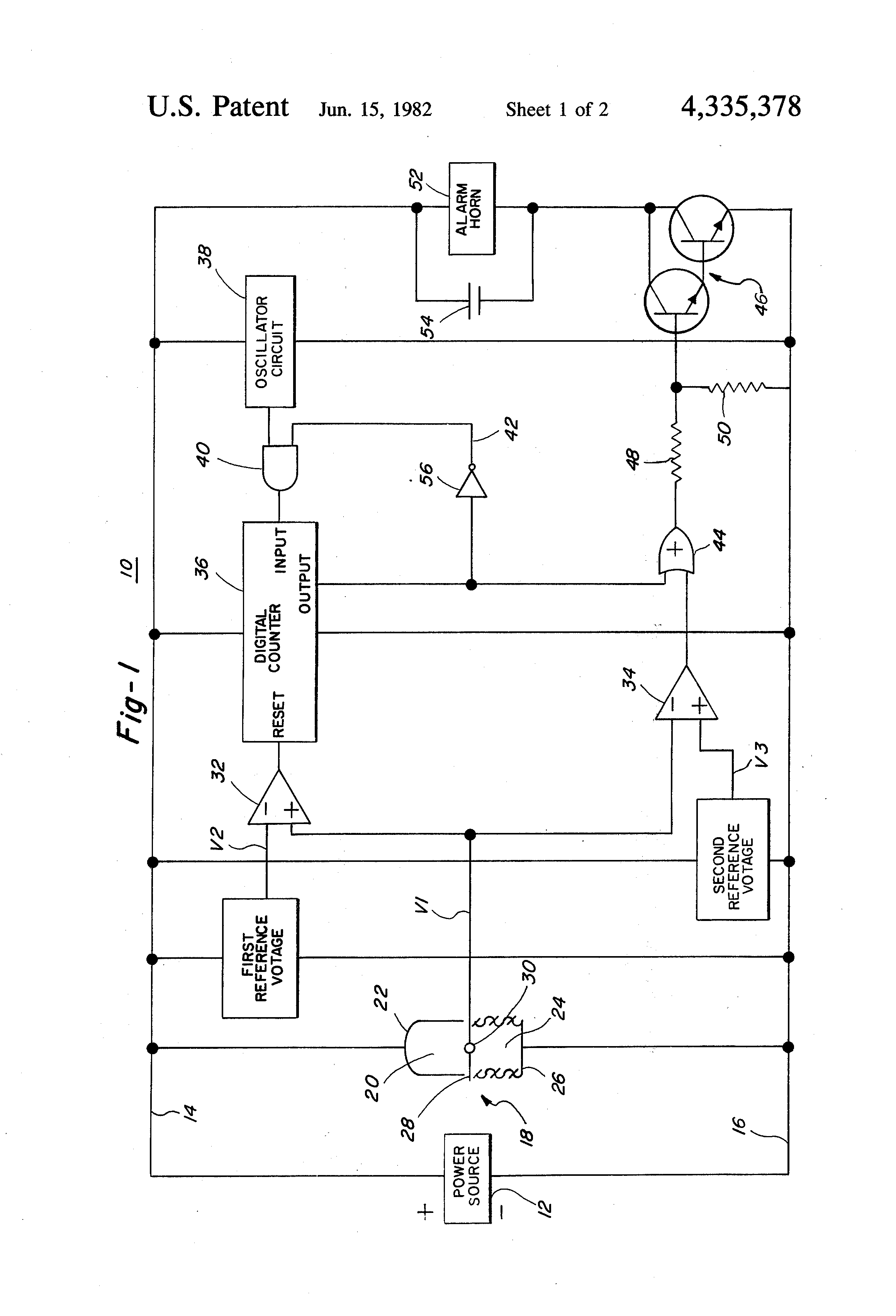 Smoke Detector Circuit Diagram Including Patent Us4792797 Alarm Us4335378 Timed Dual Comparator Google Patents