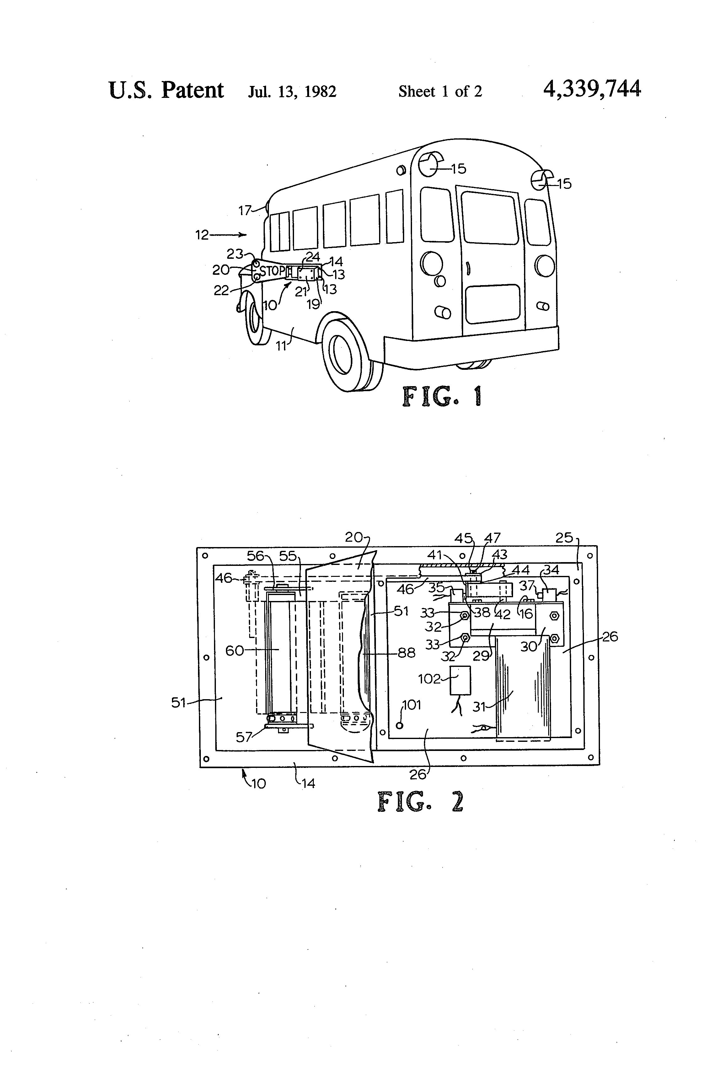 Patent Us4339744 - School Bus Stop Sign
