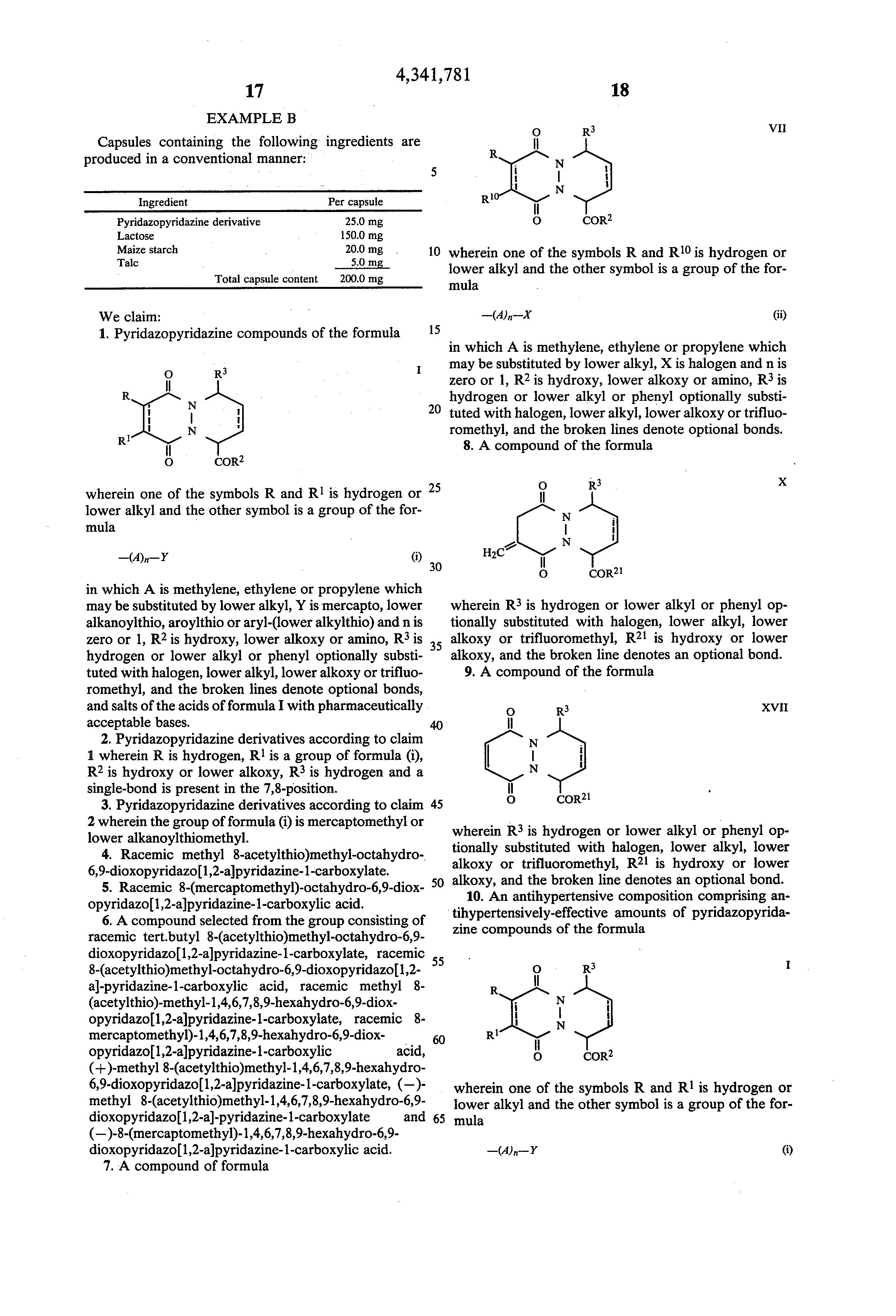 Patent us4341781 pyridazopyridazine derivatives google patents patent drawing biocorpaavc