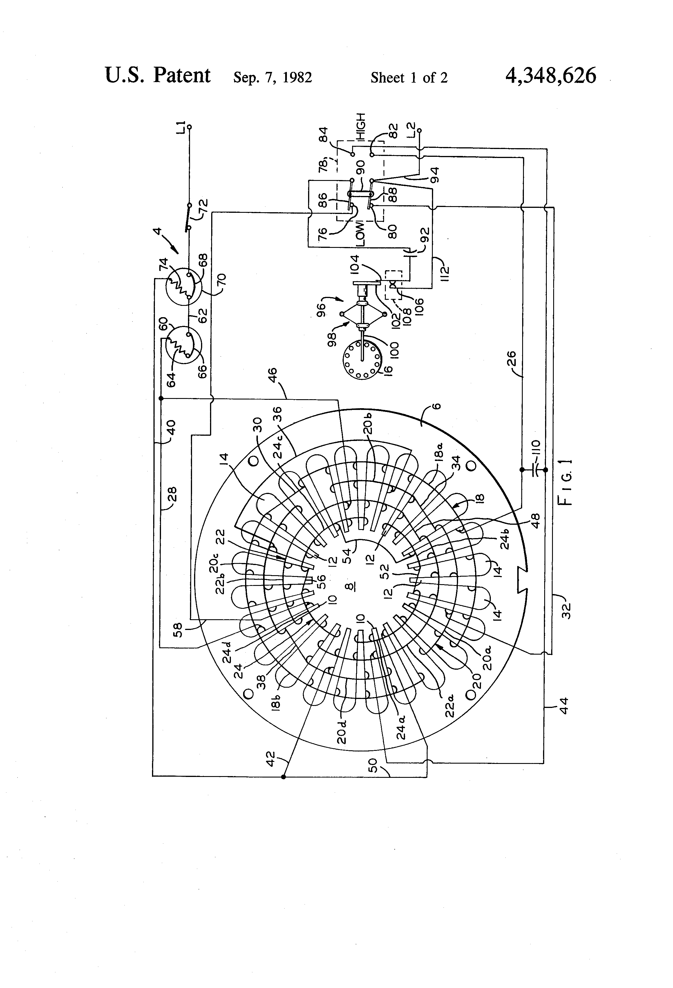 Patent US4348626 - Two-speed single phase motor with centrifugal ...