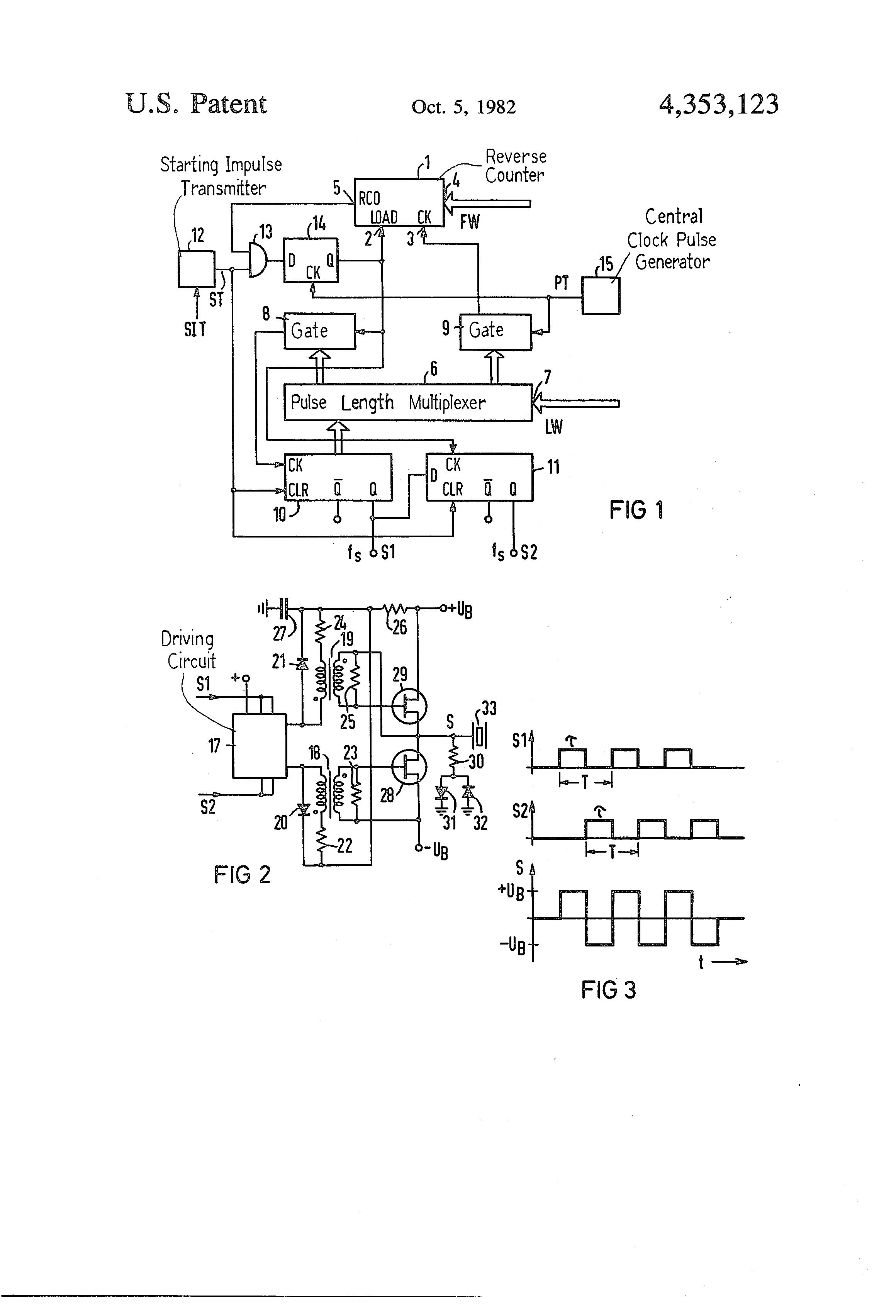 Patent Us4353123 Ultrasonic Transmitter Google Patents Alternating Square Pulse Generator Drawing