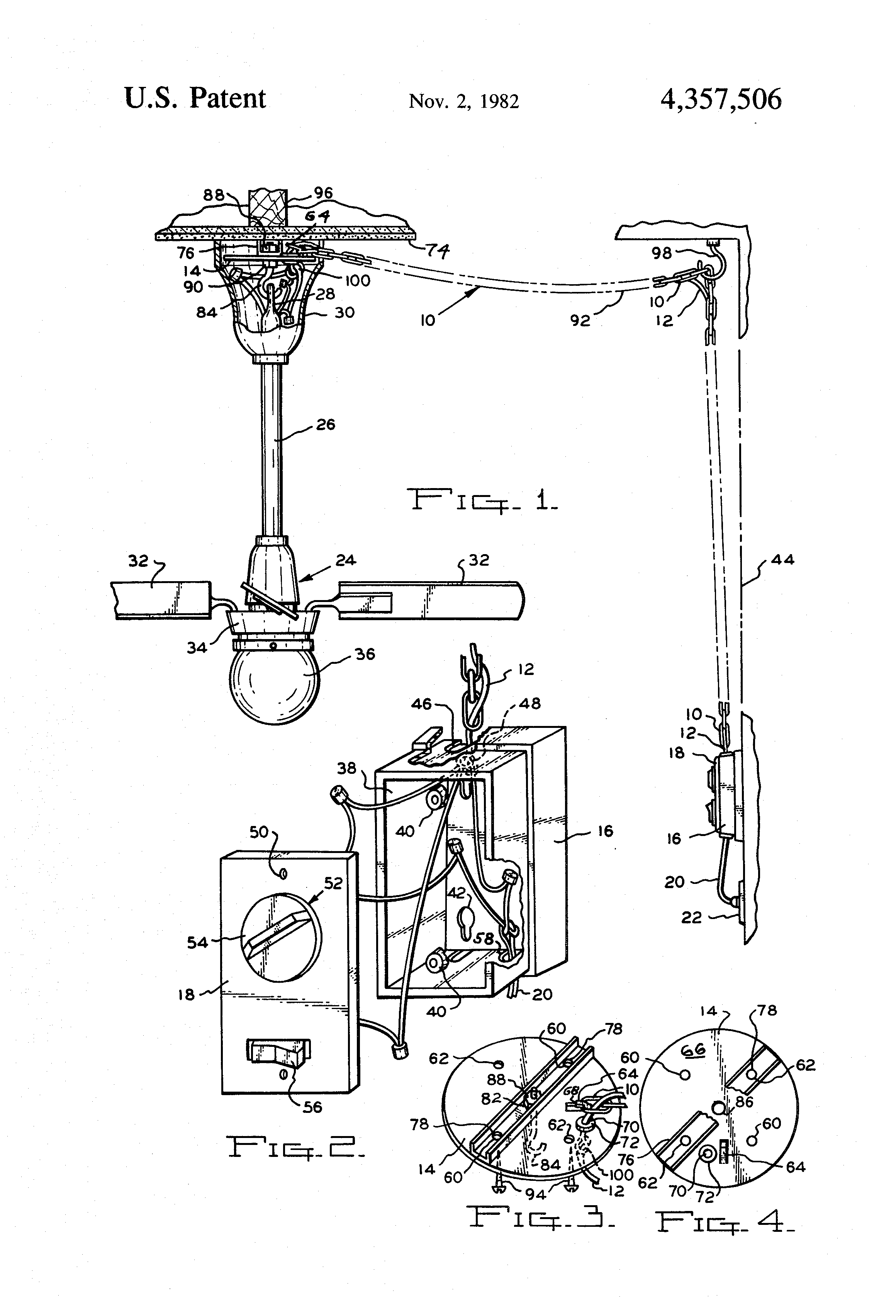 patent us4357506 - swag kit for ceiling mounted fans