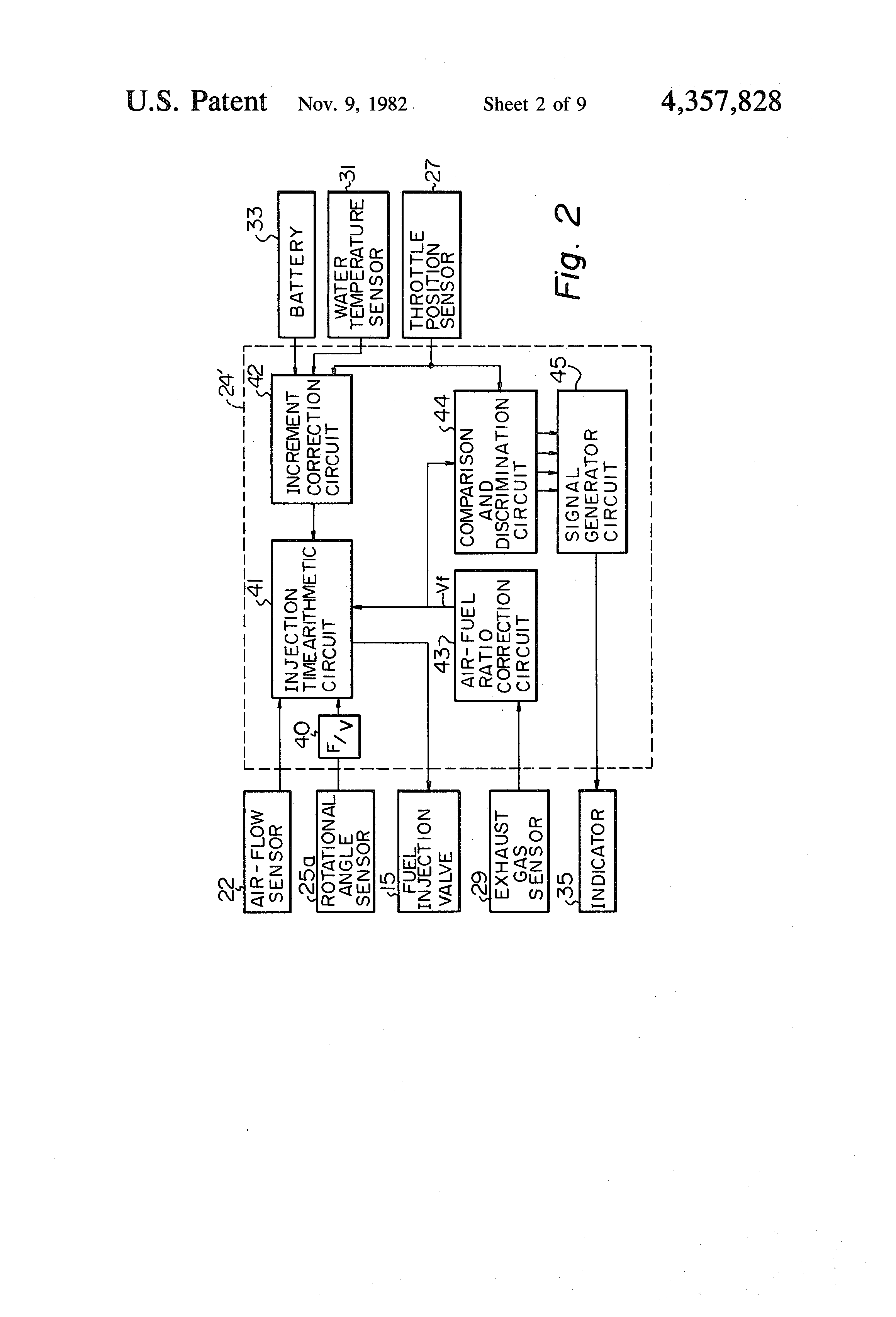 Patent Us4357828 Method Of Indicating A Basic Air Fuel Ratio Temperature Indicator Circuit Drawing