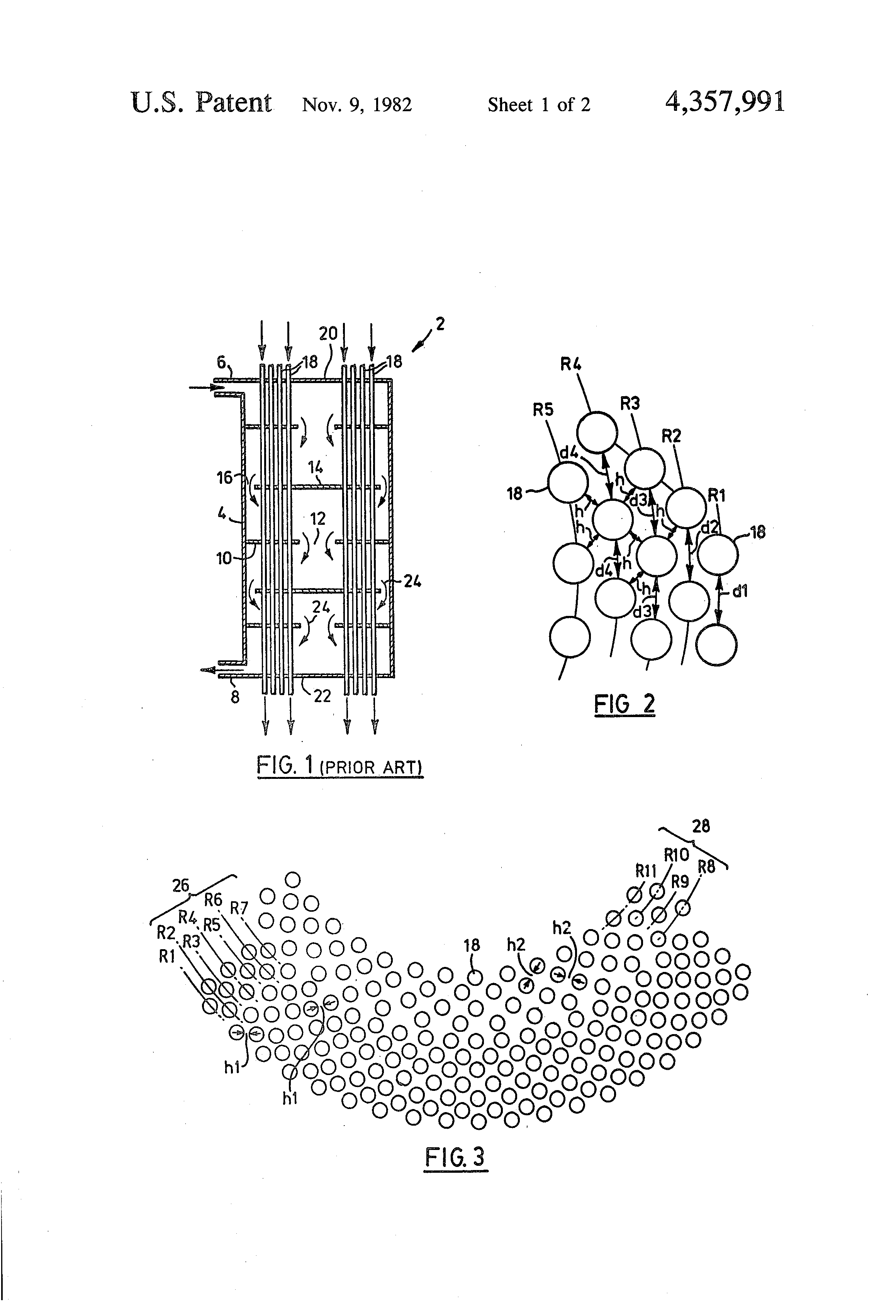 Patent Us4357991 Heat Exchanger Having Improved Tube Layout Piping Of Drawing