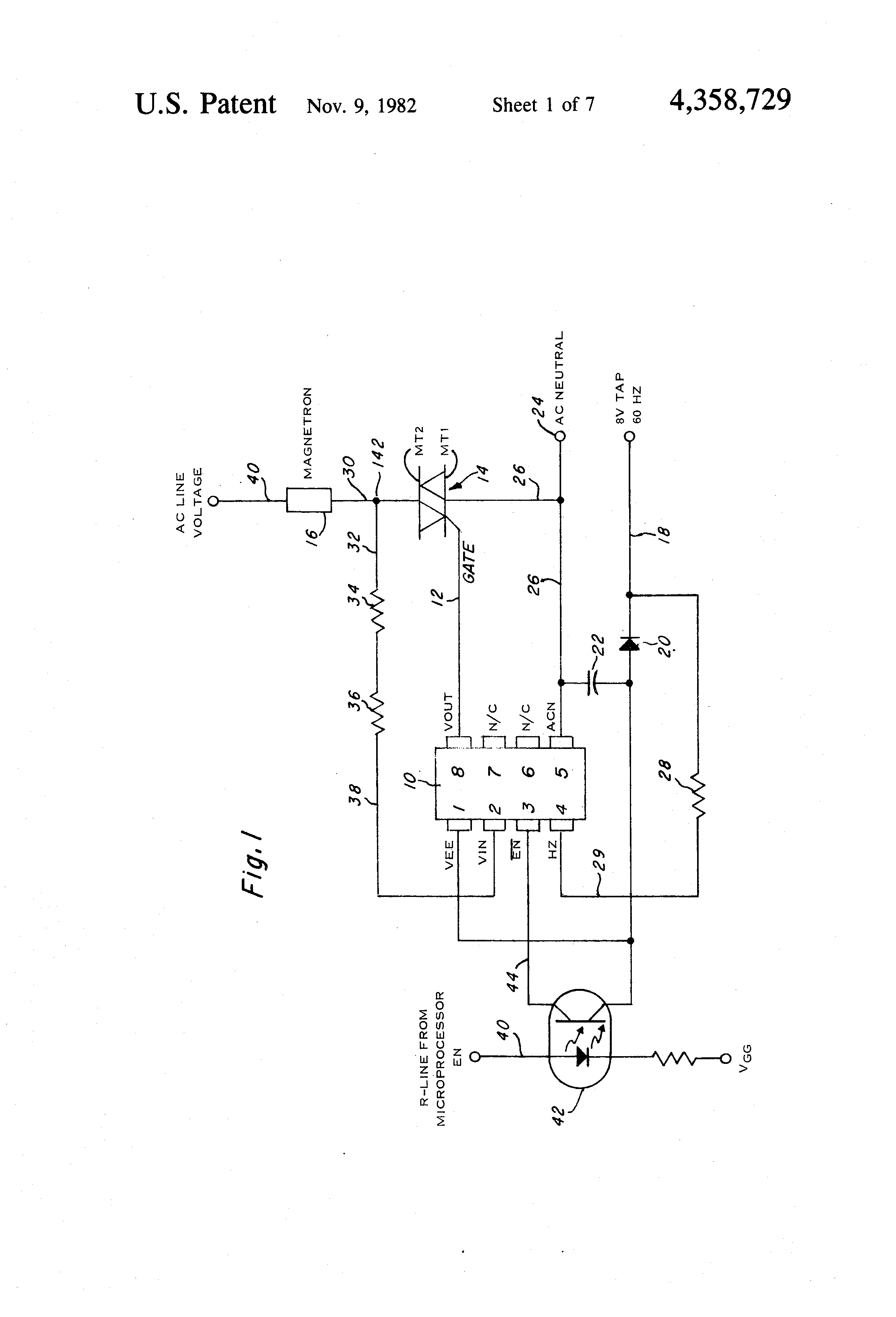 Patent Us4358729 Thyristor Driver Controller For Reactive Loads Triac 8 Channel Opto Isolator Circuit Schema Drawing