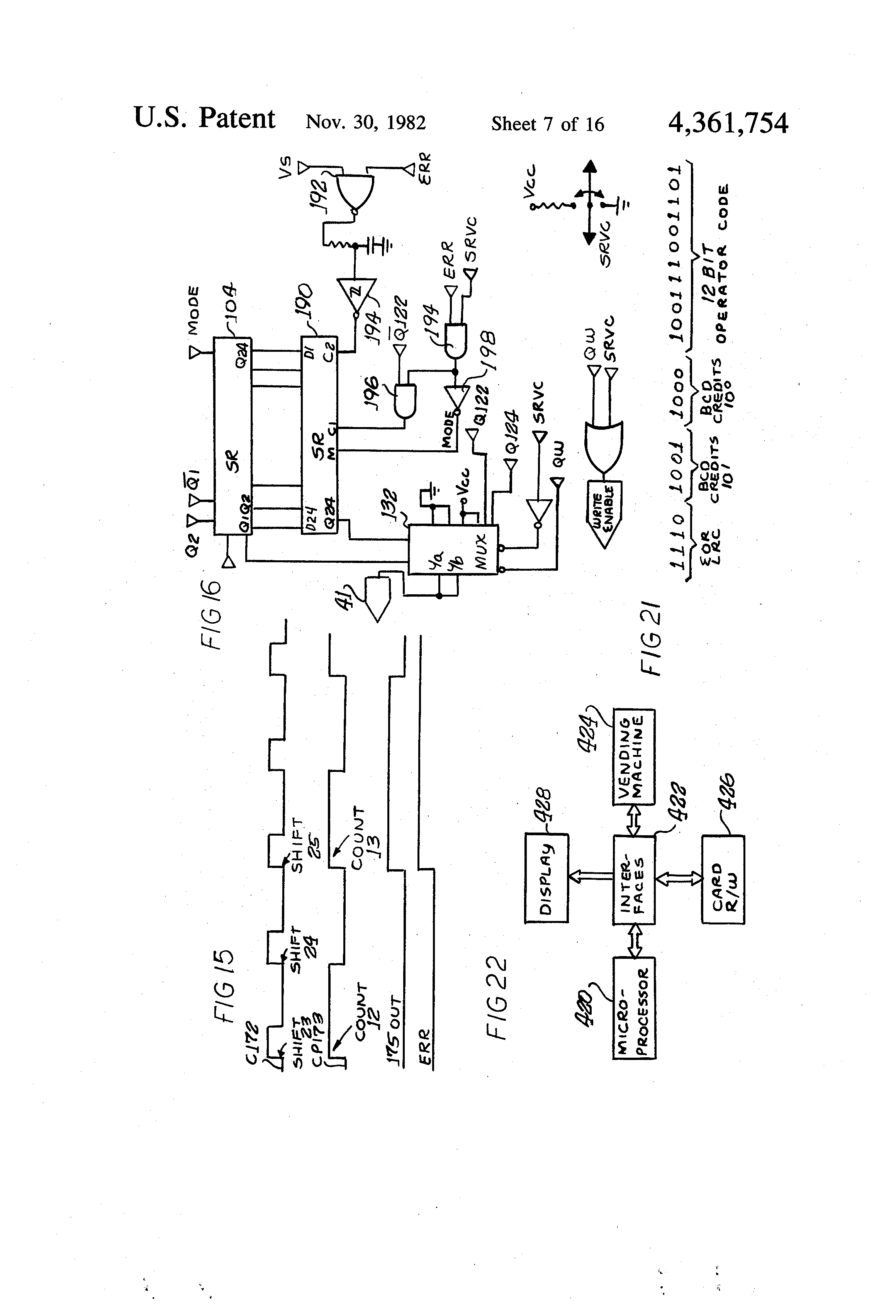 Patent Us4361754 Record Operated Control System For A Vending Machine Wiring Diagram Drawing