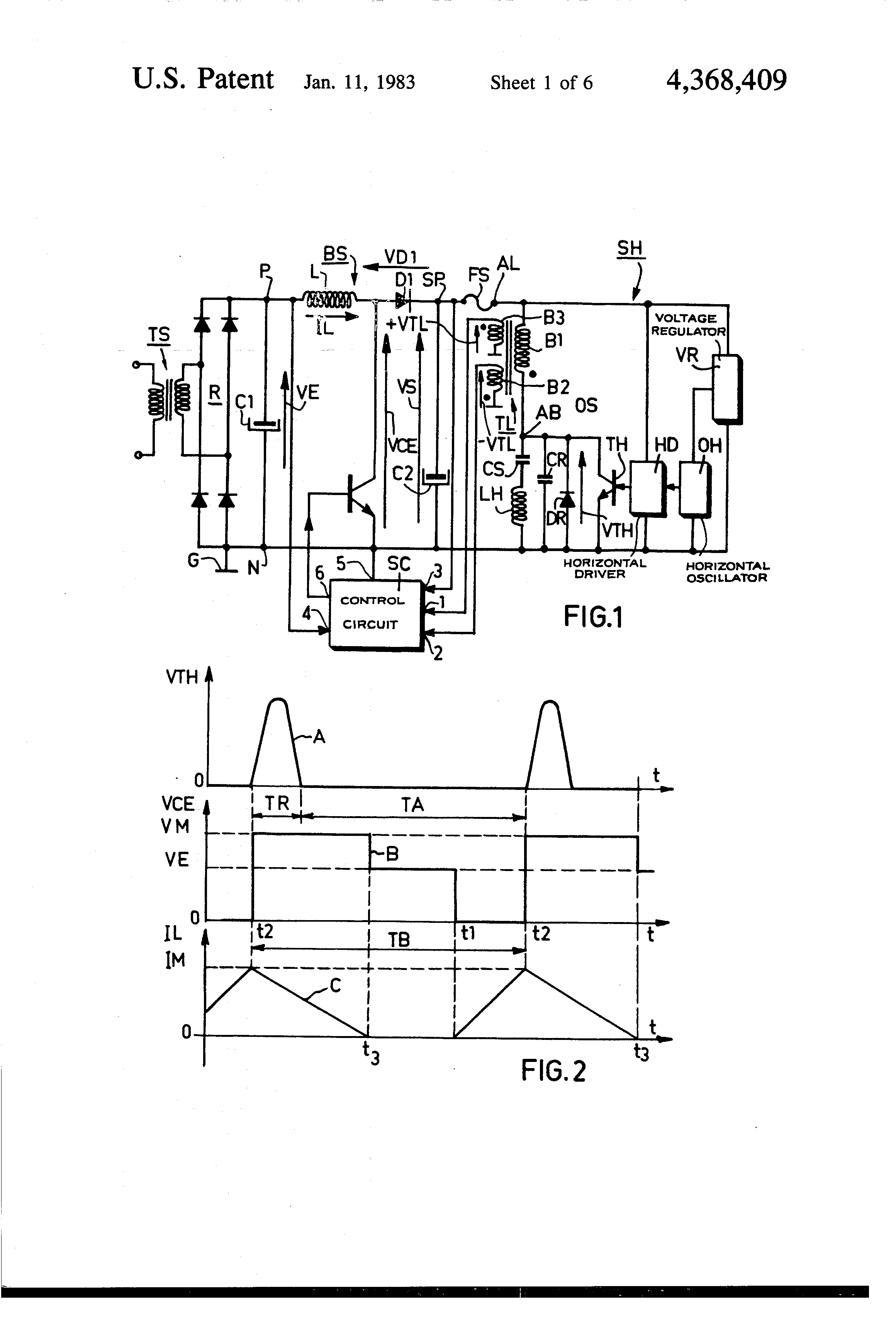 Patent Us4368409 Switching Regulator Power Supply Device Combined Circuit Diagram Of Synchronized Mains Voltage Control Drawing