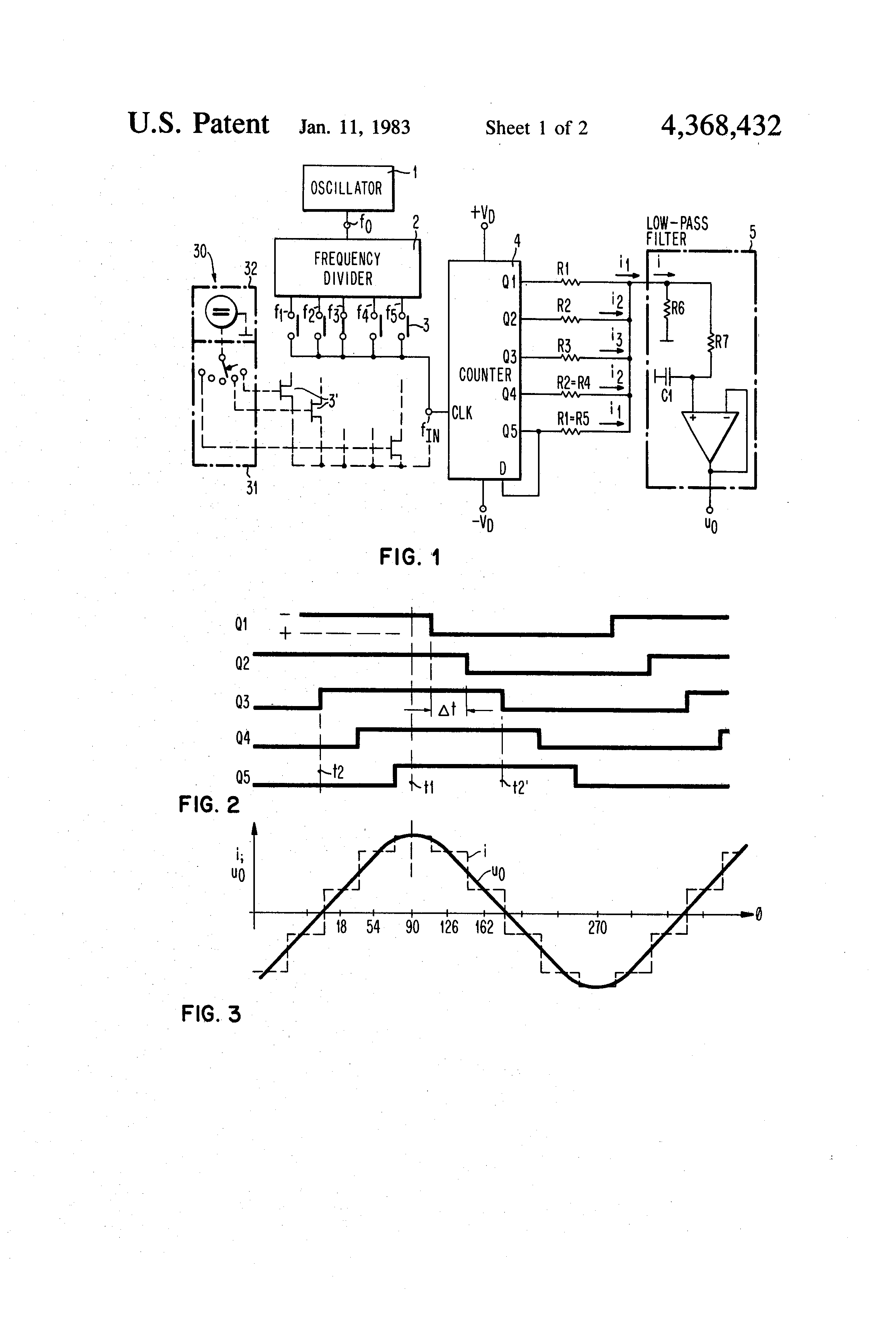 patent us4368432 - sine wave generator for different frequencies