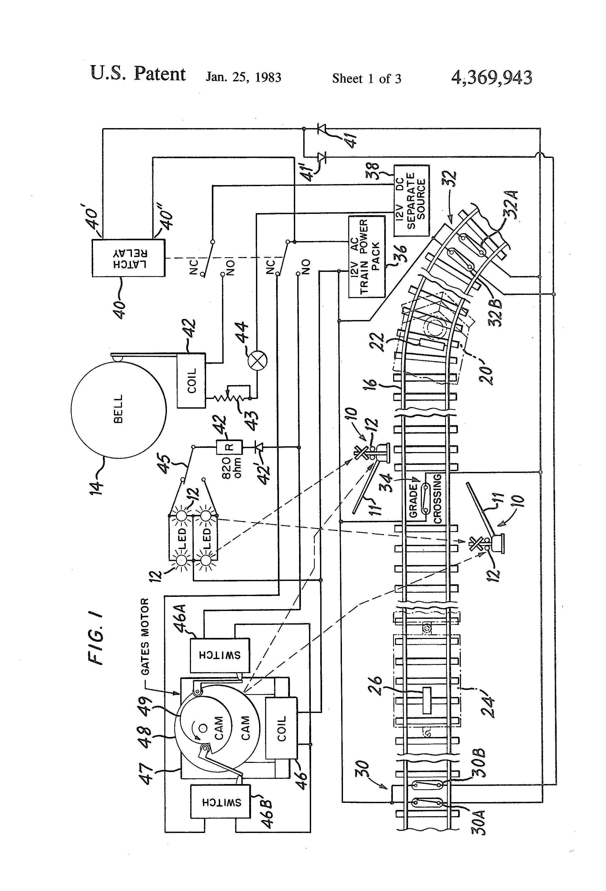 patent us4369943 - model train crossing gate