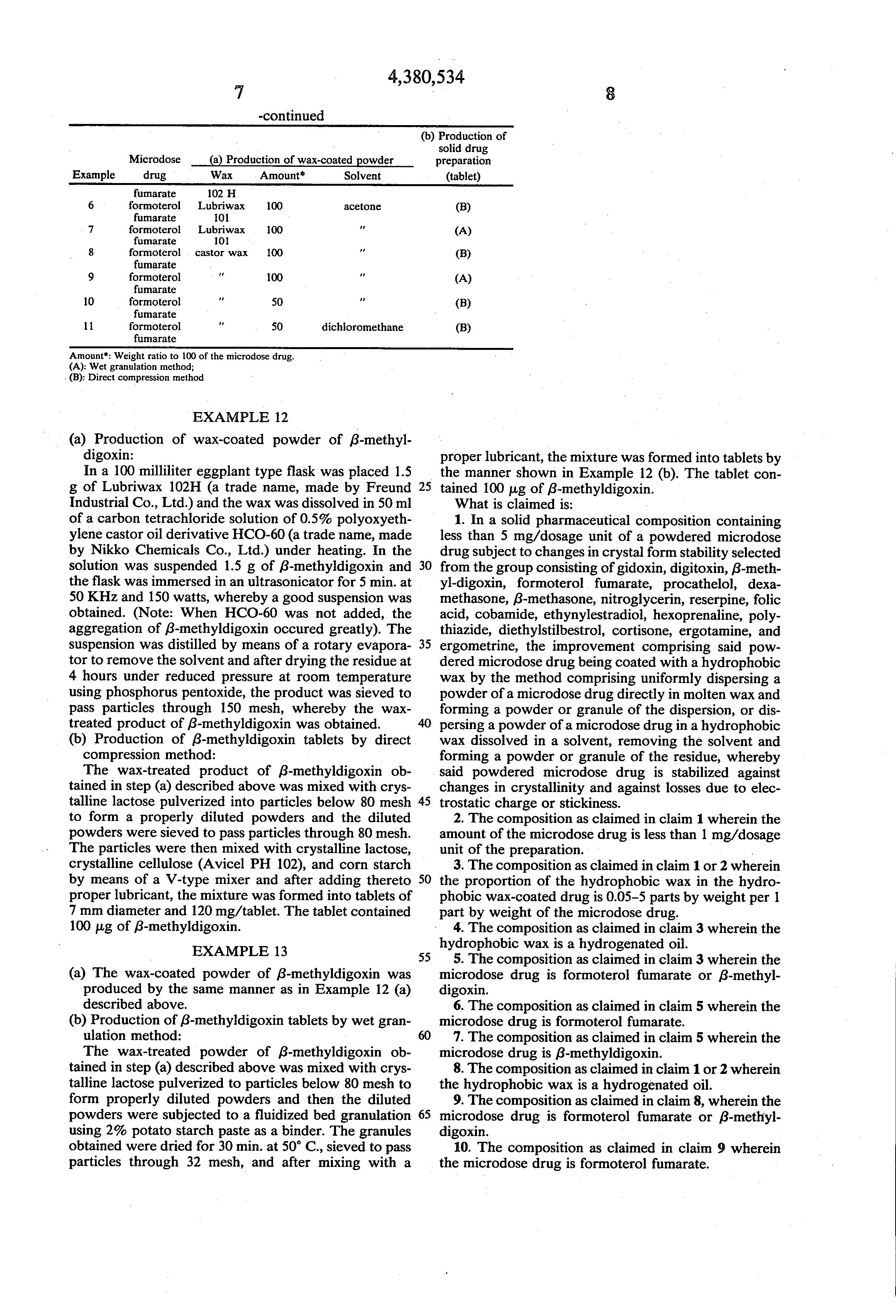 Patent US4380534 - Solid drug preparations - Google Patents