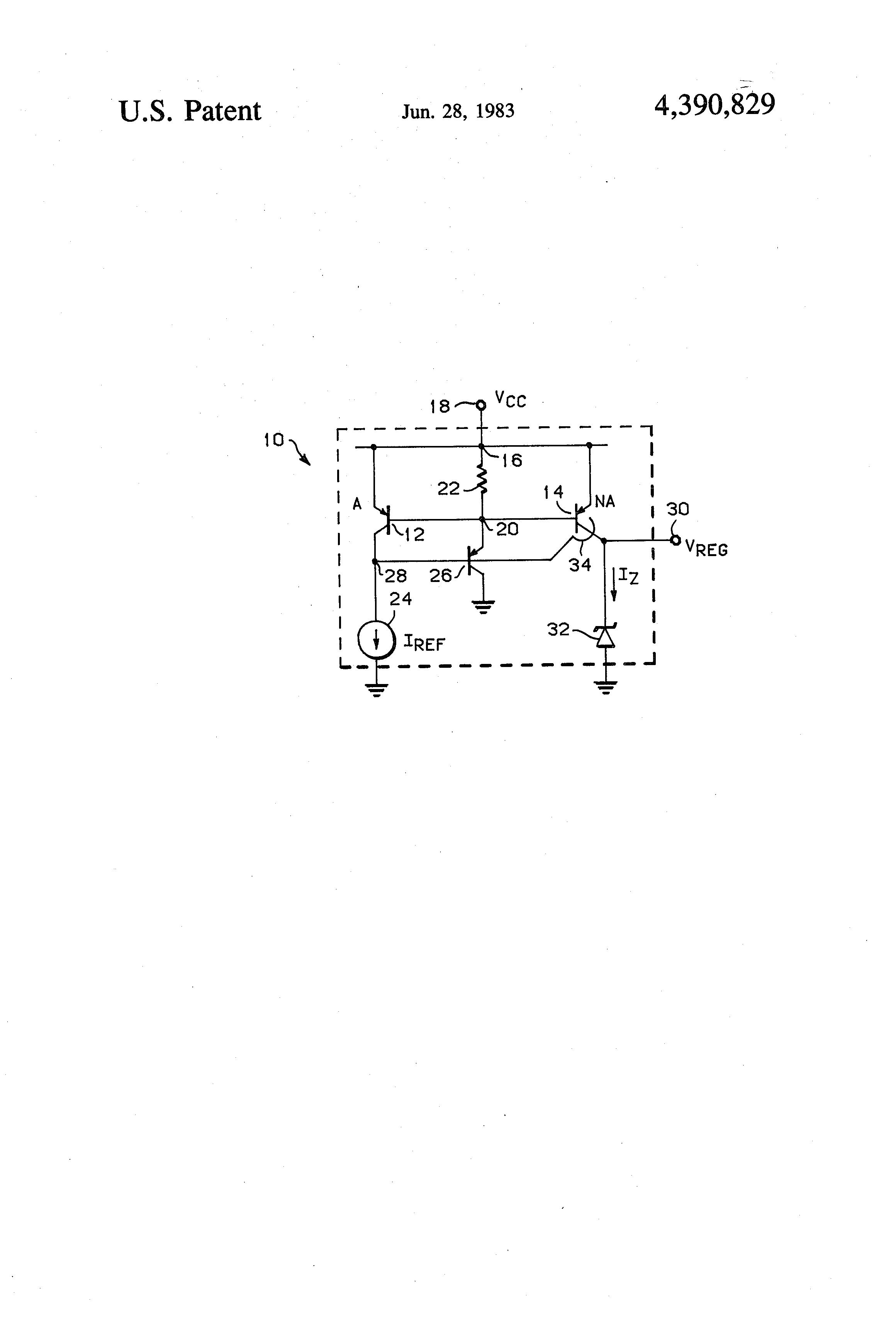 Patent Us4390829 Shunt Voltage Regulator Circuit Google Patents Psu Diagram Furthermore Drawing