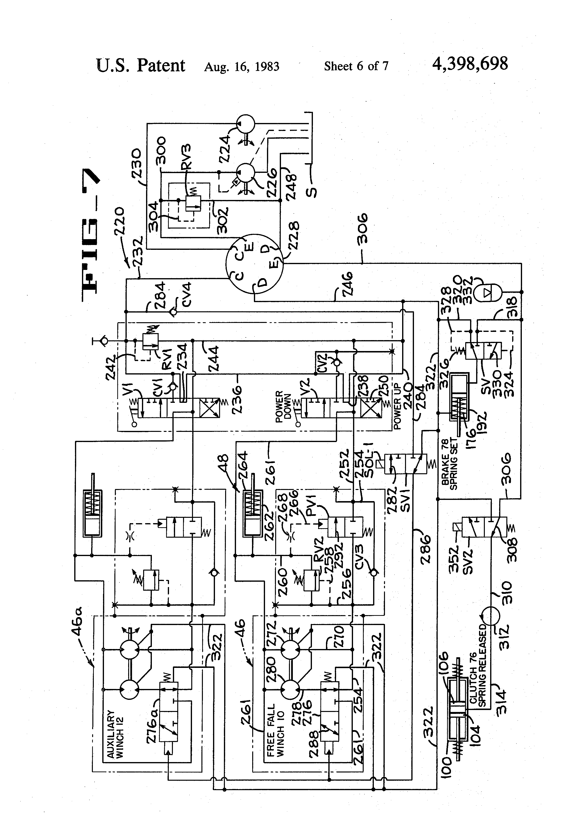 patent us4398698 freefall winch system and method of operation patents