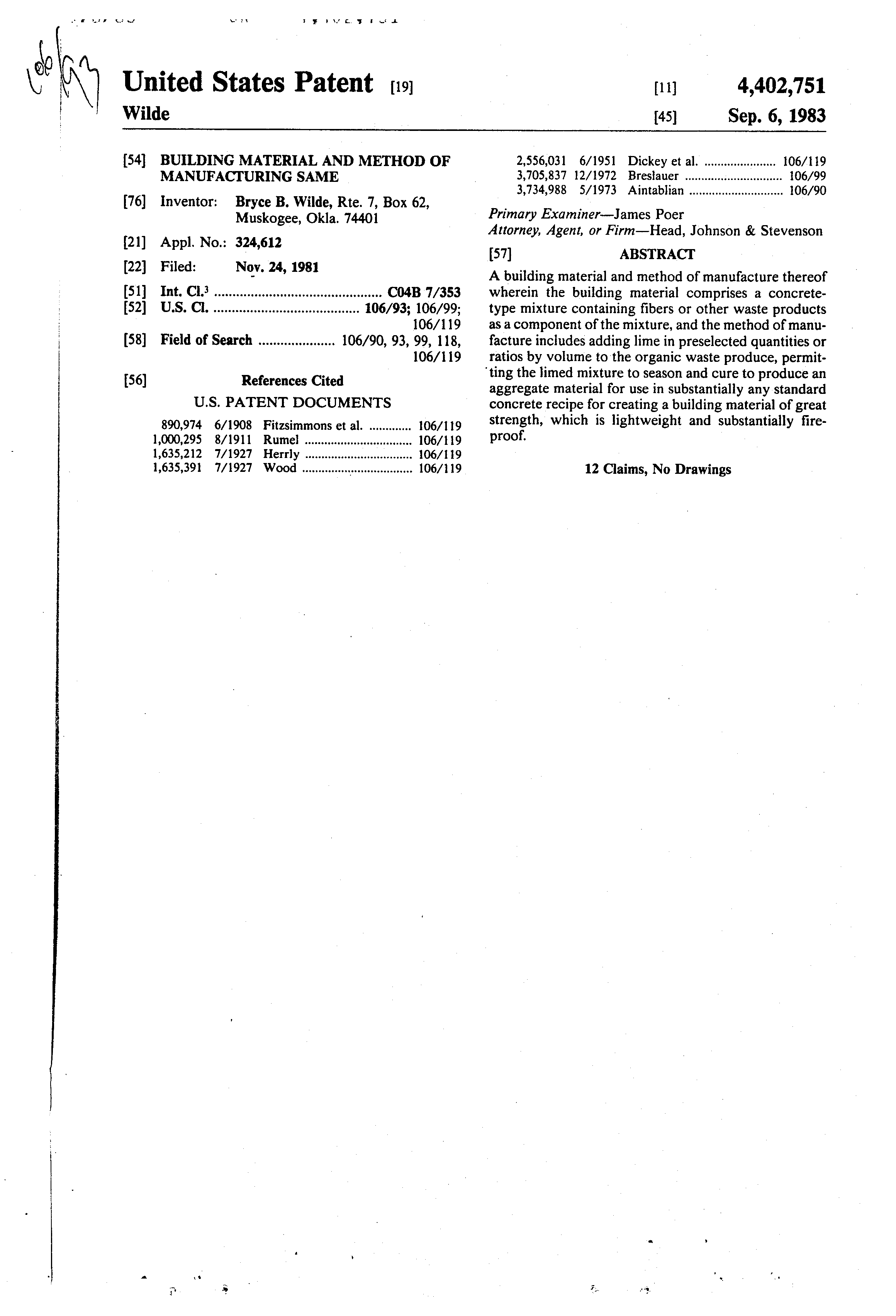 patent us4402751 building material and method of manufacturing patent drawing