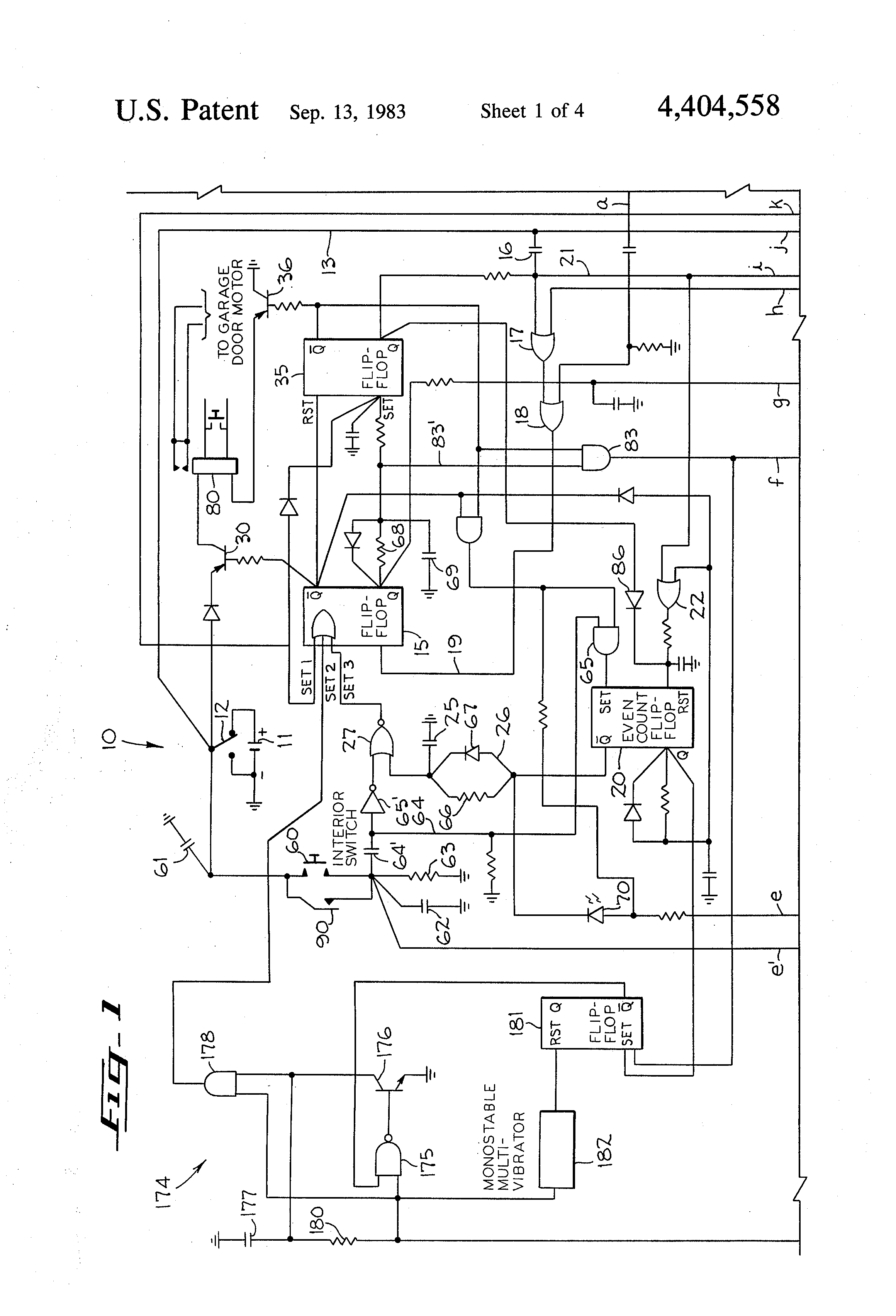 US4404558 1 patent us4404558 electrical control circuit for operating a garage door opener wiring diagram at edmiracle.co