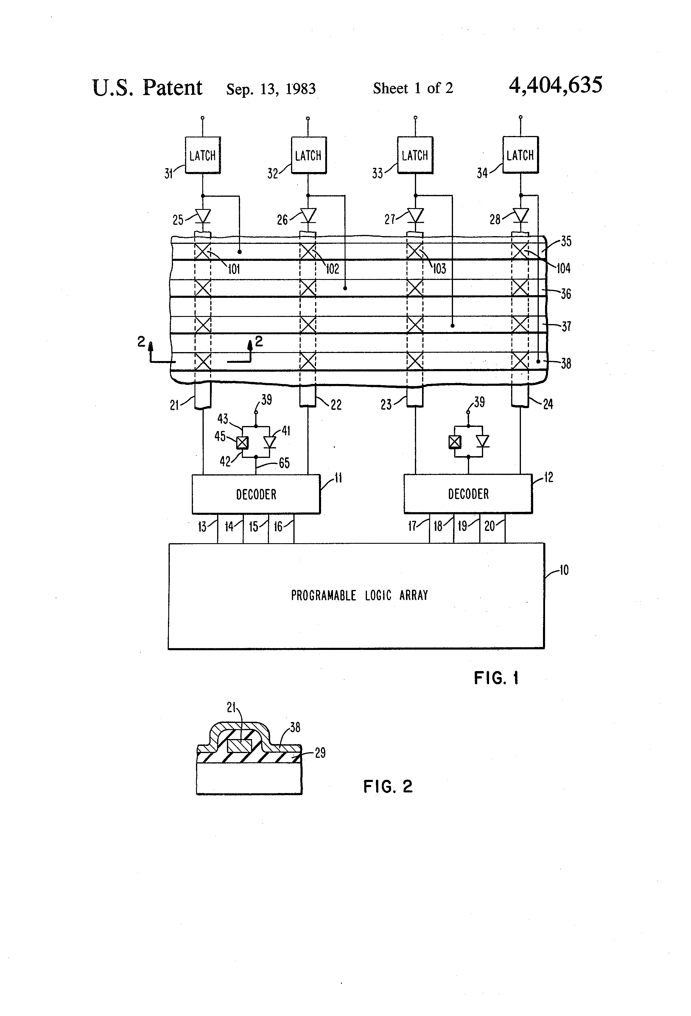 Patent Us4404635 Programmable Integrated Circuit And Method Of 4 To 16 Decoder Logic Diagram Drawing
