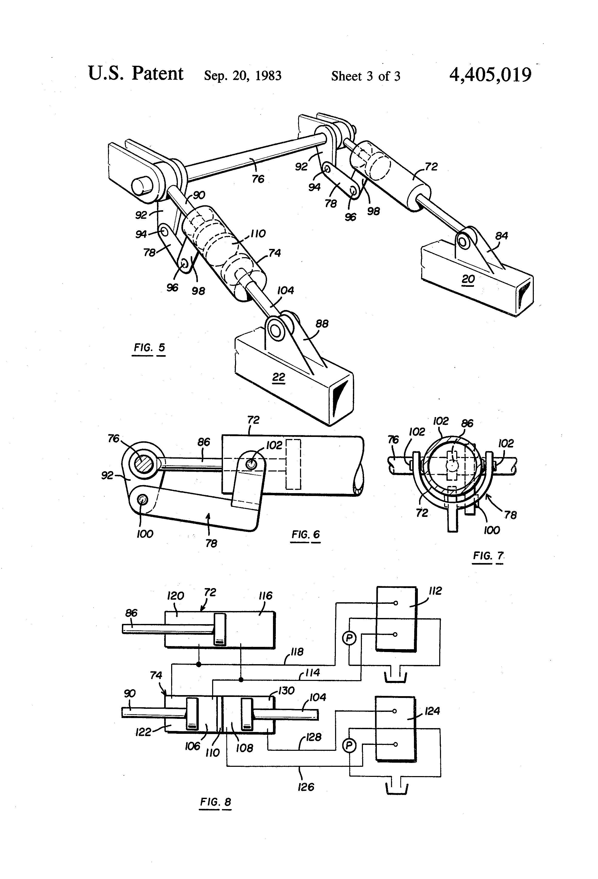 patent us4405019 - adjustment and stabilizer mechanism for dozer blade