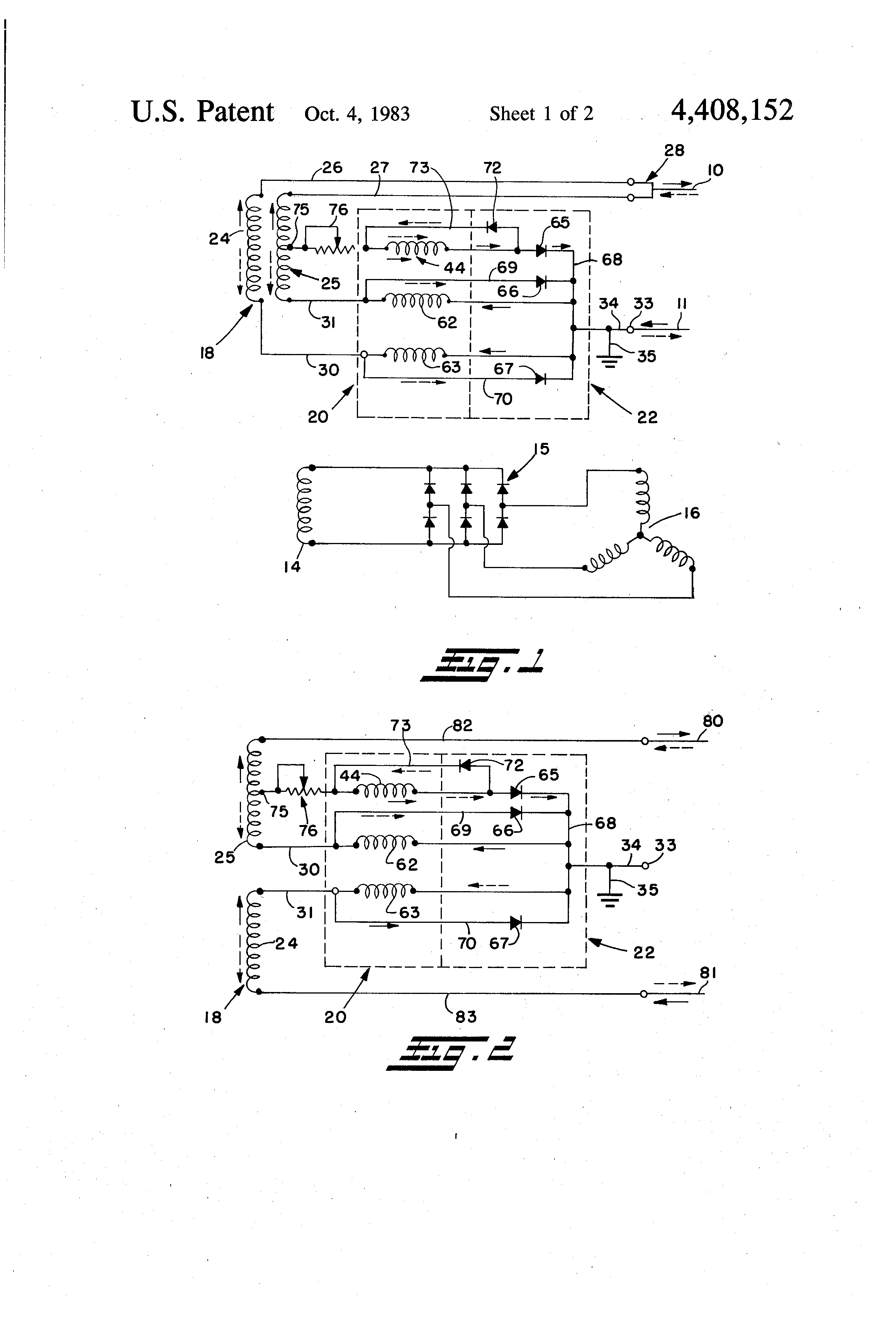 patent us4408152 single phase self regulated alternator patent drawing
