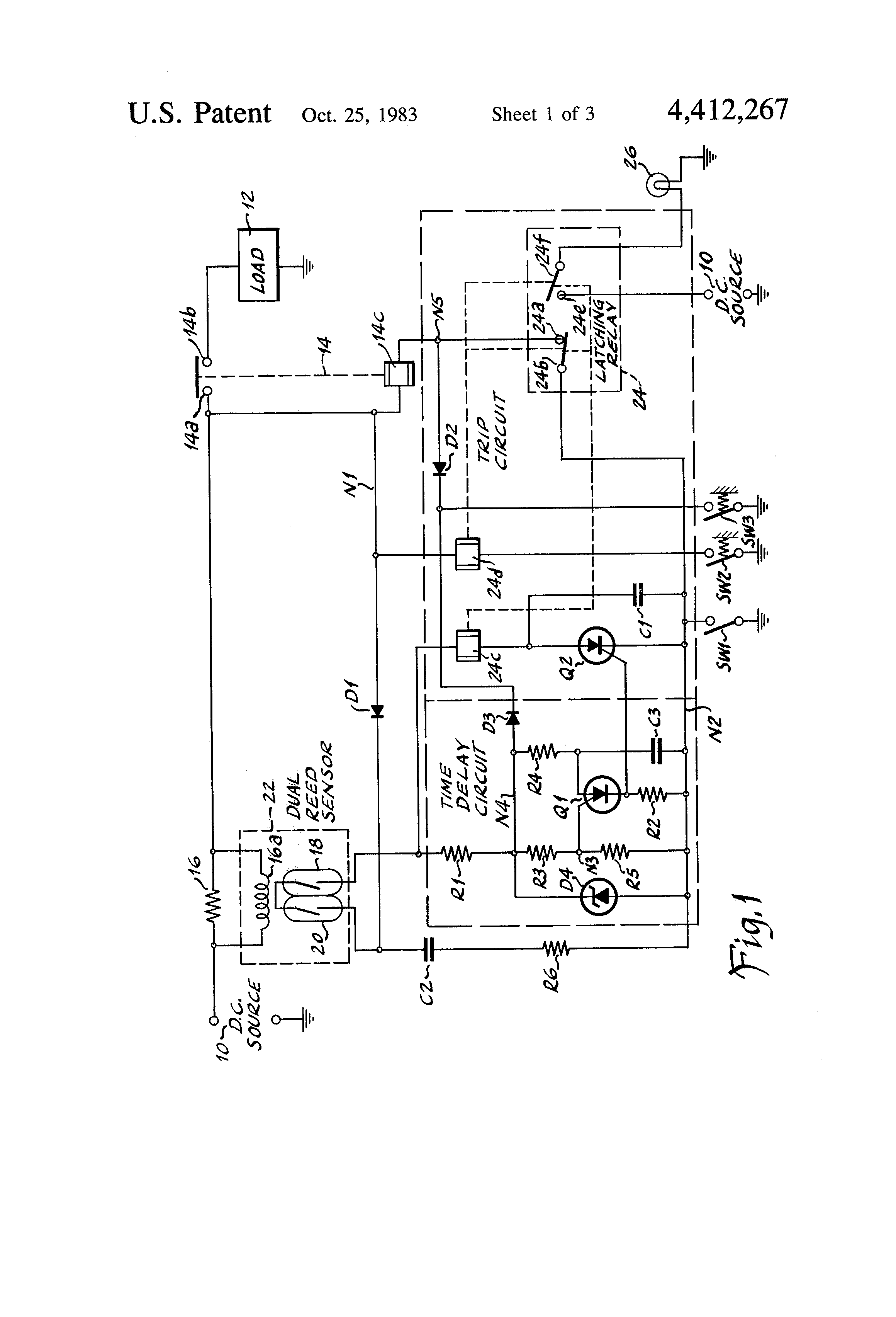 patent us4412267 - time-delay current sensing circuit breaker relay