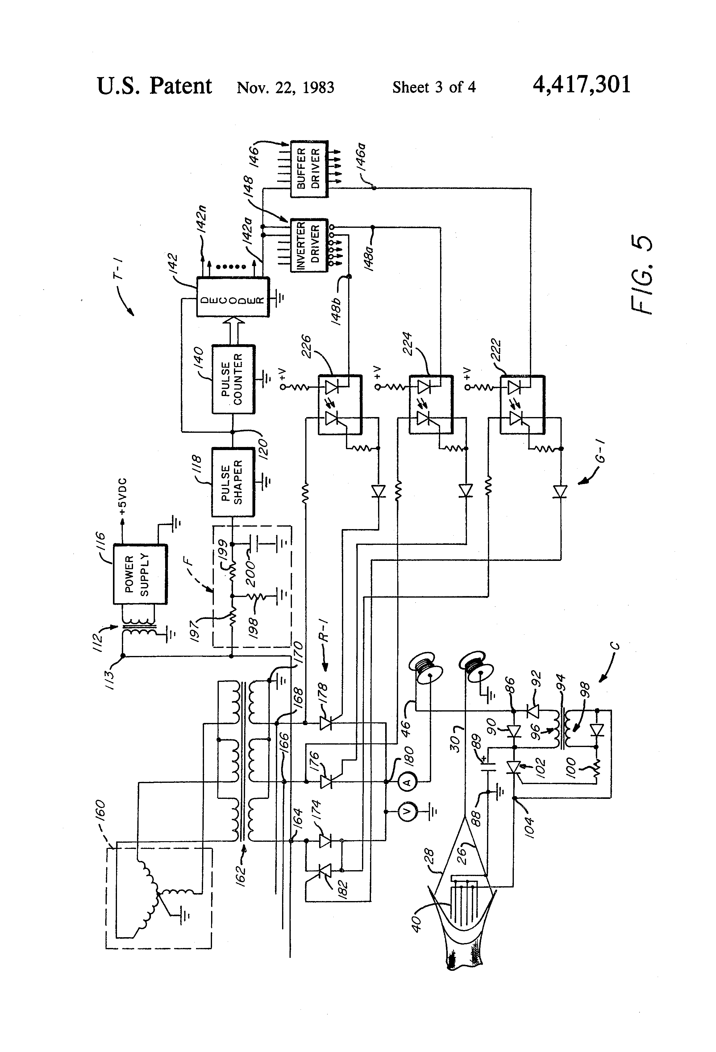 patent us4417301 - method and apparatus for electric fish trawling, Wiring diagram