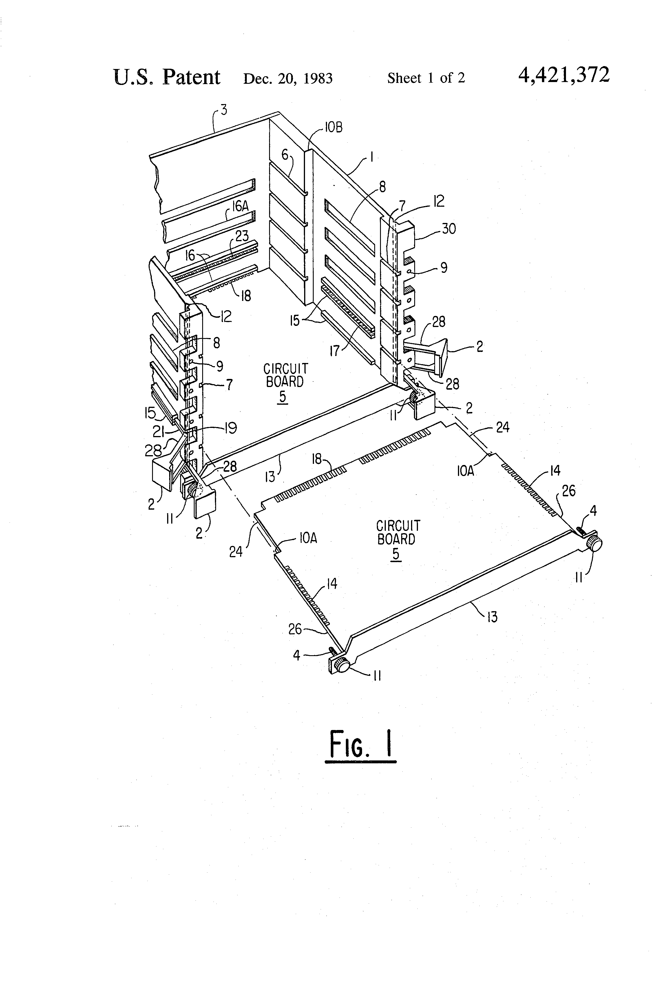 patent us4421372 - insertion-withdrawal mechanism for rack mounted circuit boards