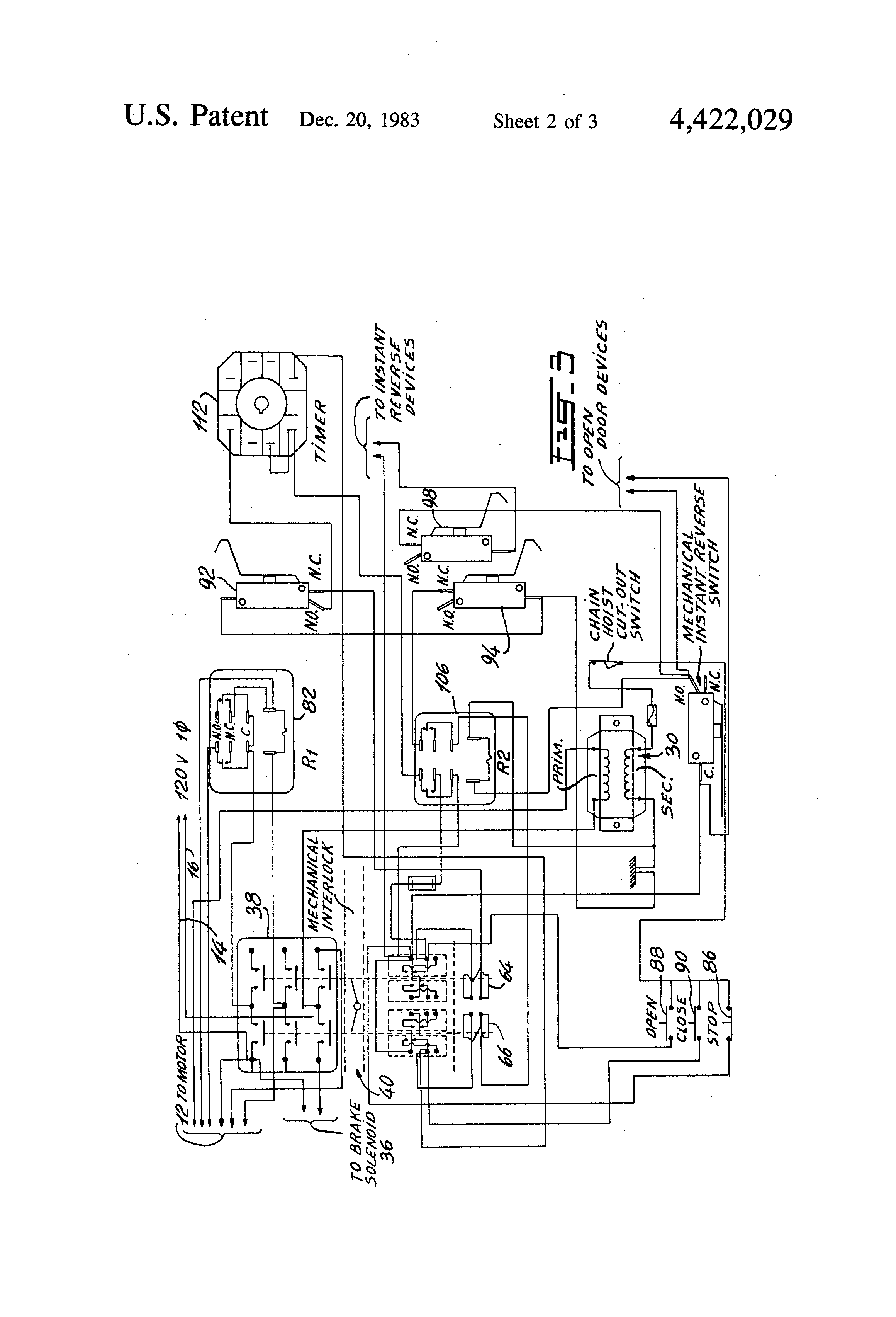 US4422029 2 patent us4422029 instant reverse control circuit for a single 240 volt single phase motor wiring diagram at honlapkeszites.co