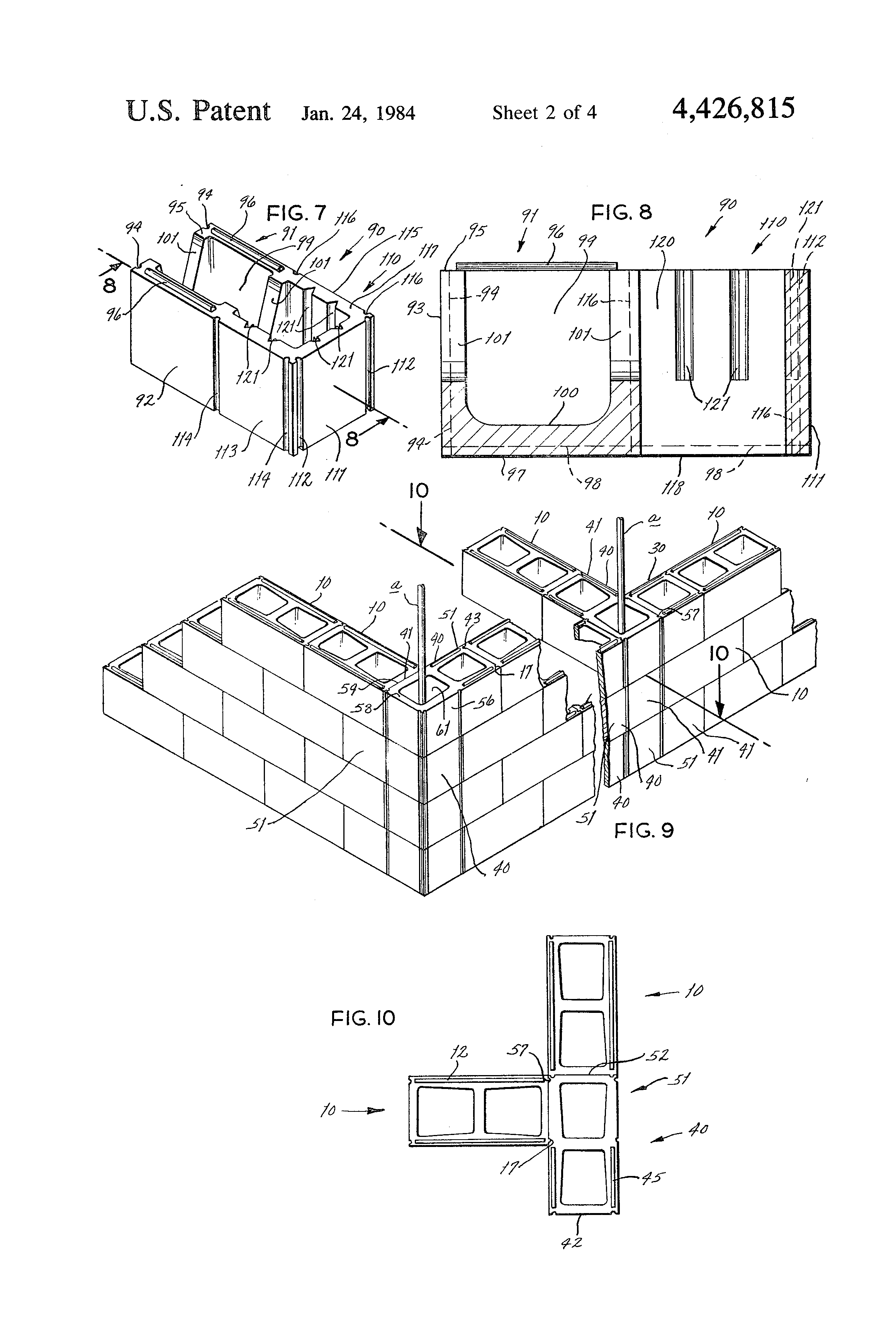 patent us4426815 mortarless concrete block system having