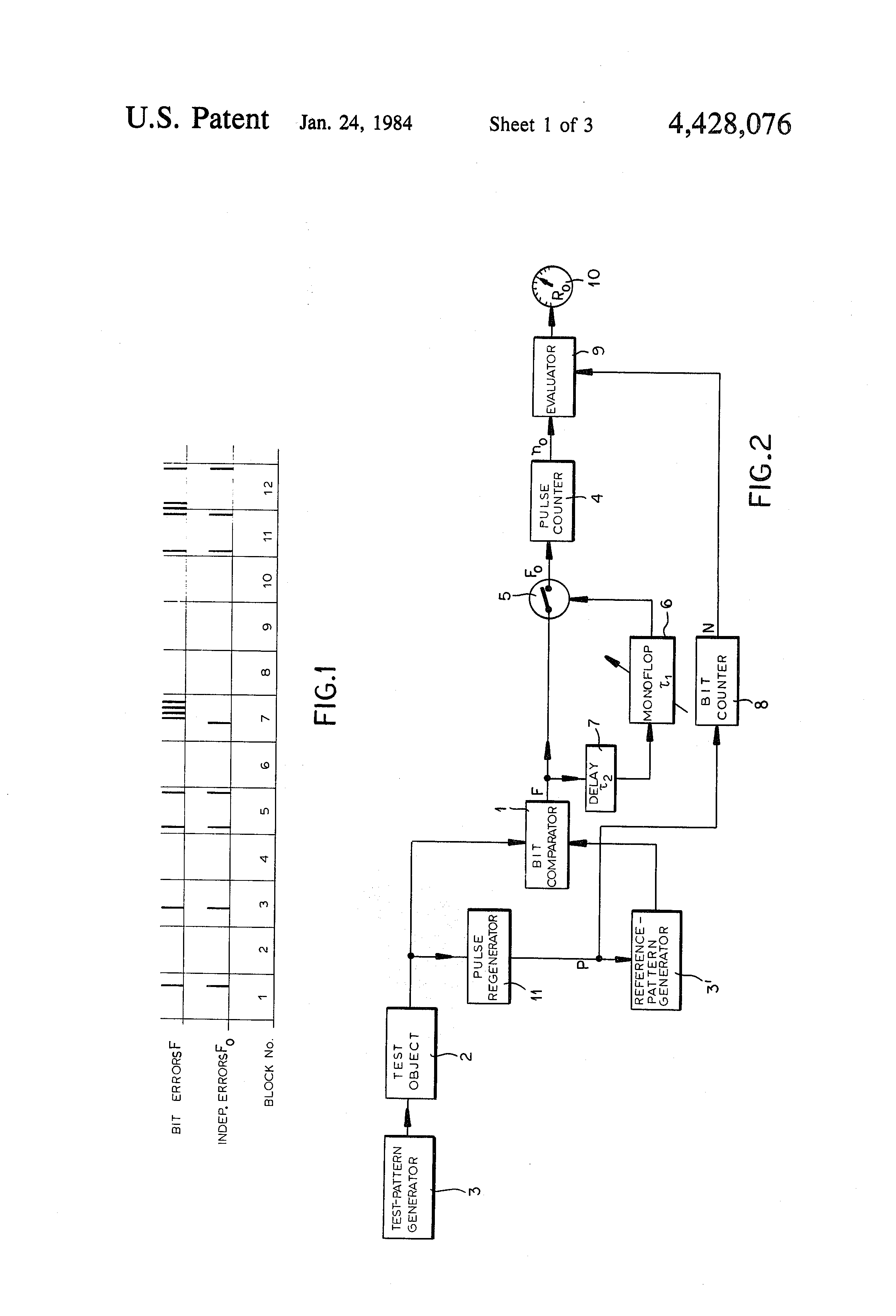 Patent Us4428076 Method Of And System For Evaluating Bit Errors In Comparator Block Diagram Drawing