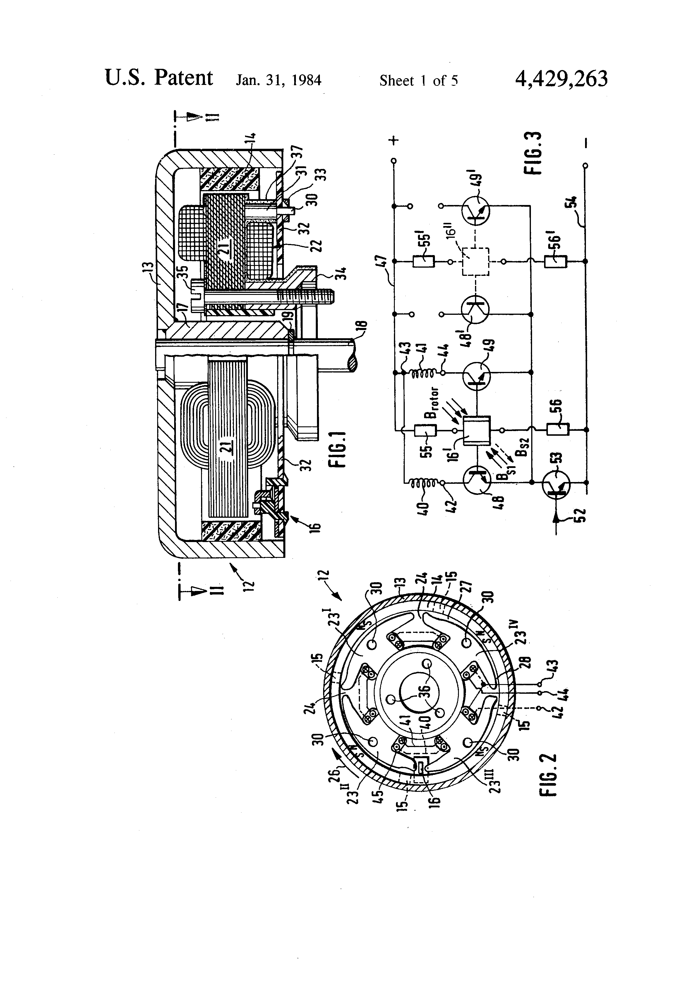 Patent Us4429263 Low Magnetic Leakage Flux Brushless