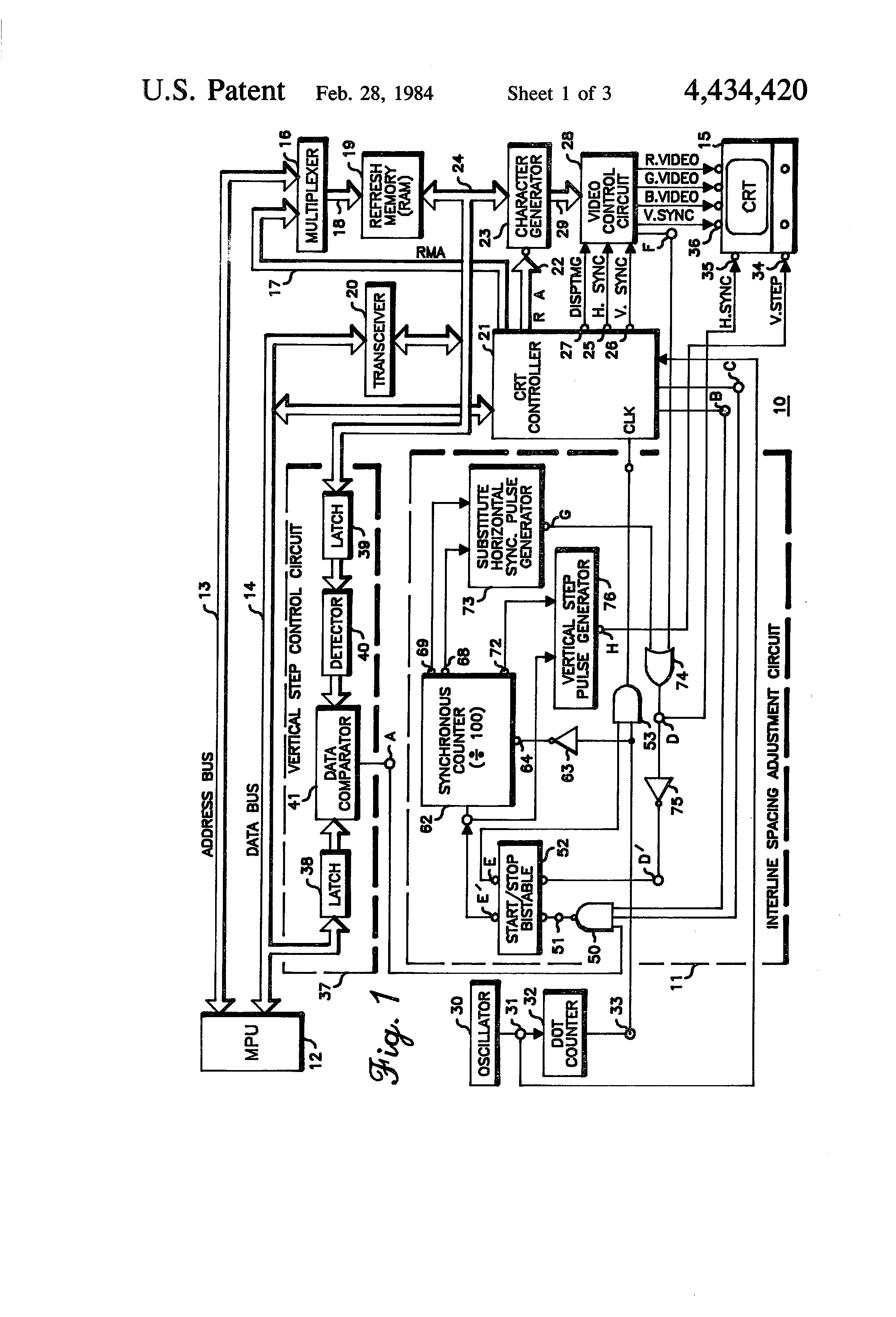 Crt Screen Schematic Electrical Wiring Diagram Patent Us4434420 Interline Spacing Adjustment Circuit In A Led