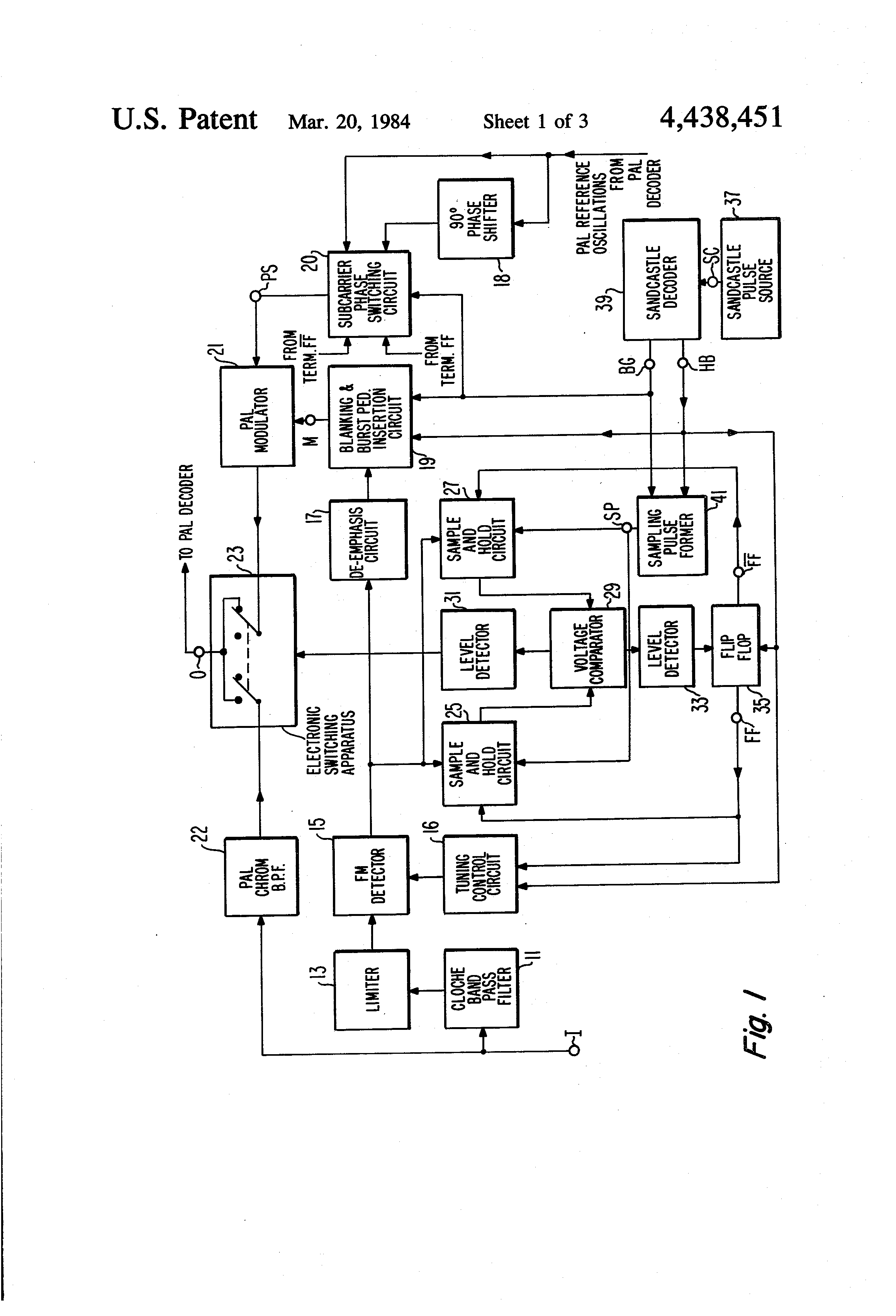 Patent Us4438451 Dual Standard Secam Pal Color Tv Receiver With Decoder Block Diagram Drawing
