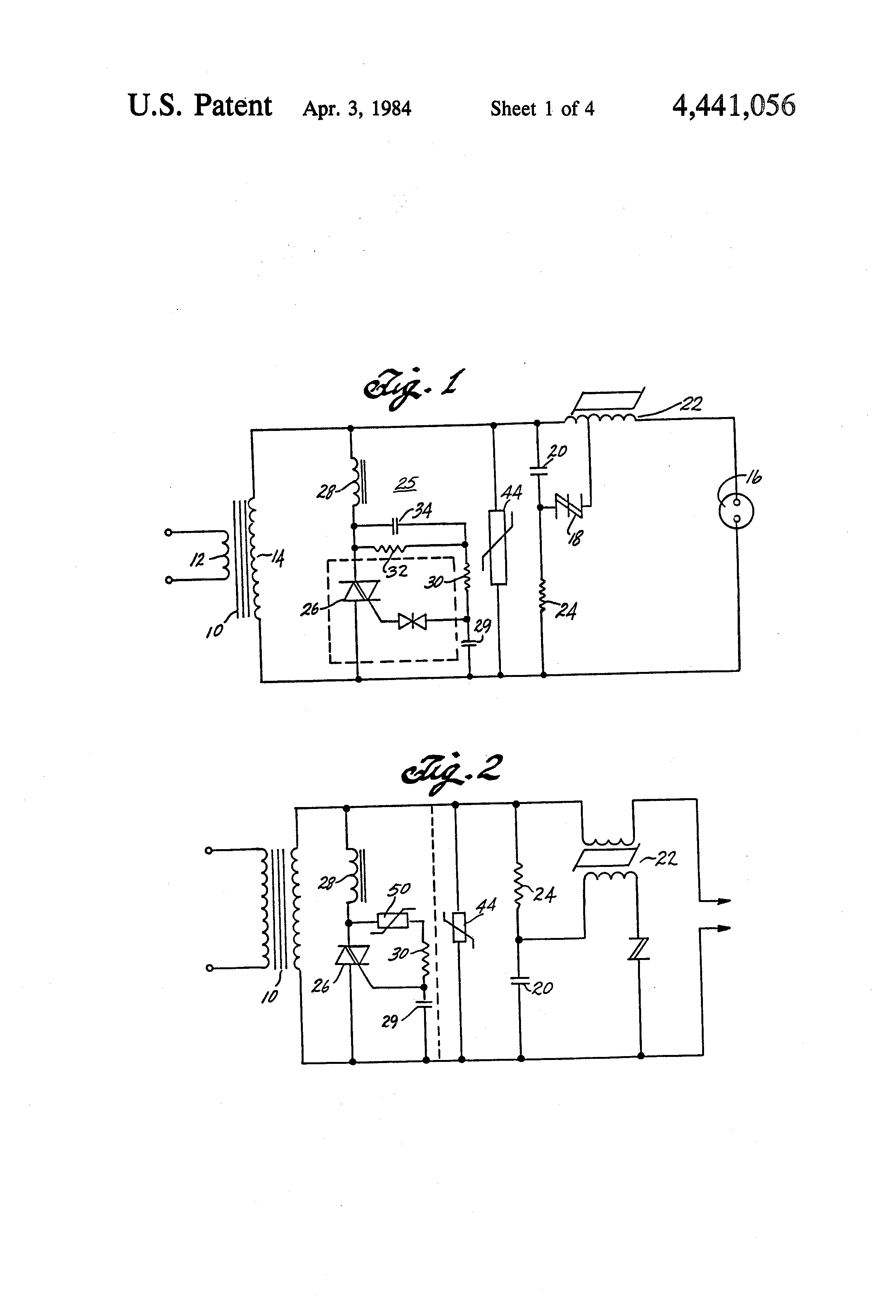 patent us4441056 high pressure sodium lamp ballast circuit patent drawing