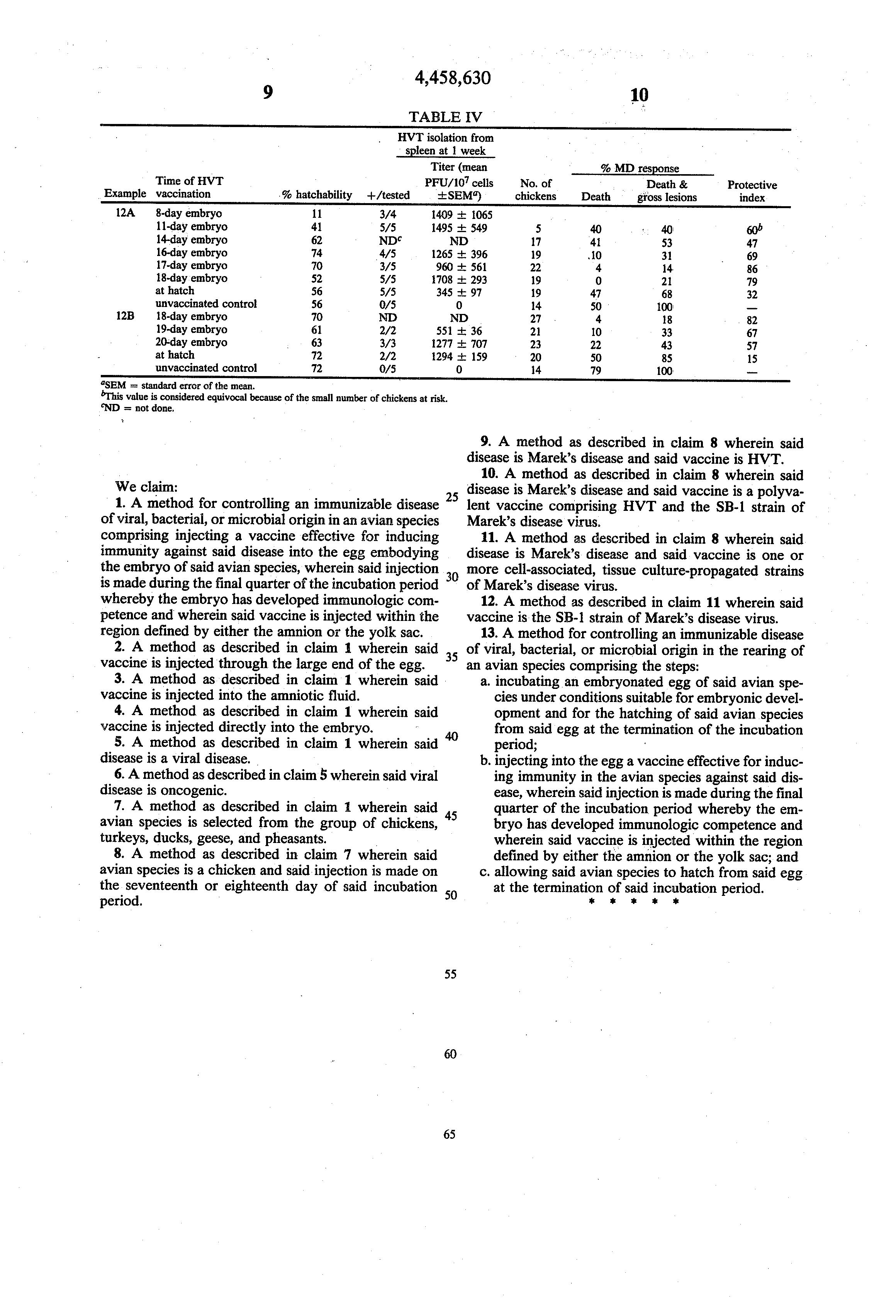 Patent US4458630 - Disease control in avian species by ...