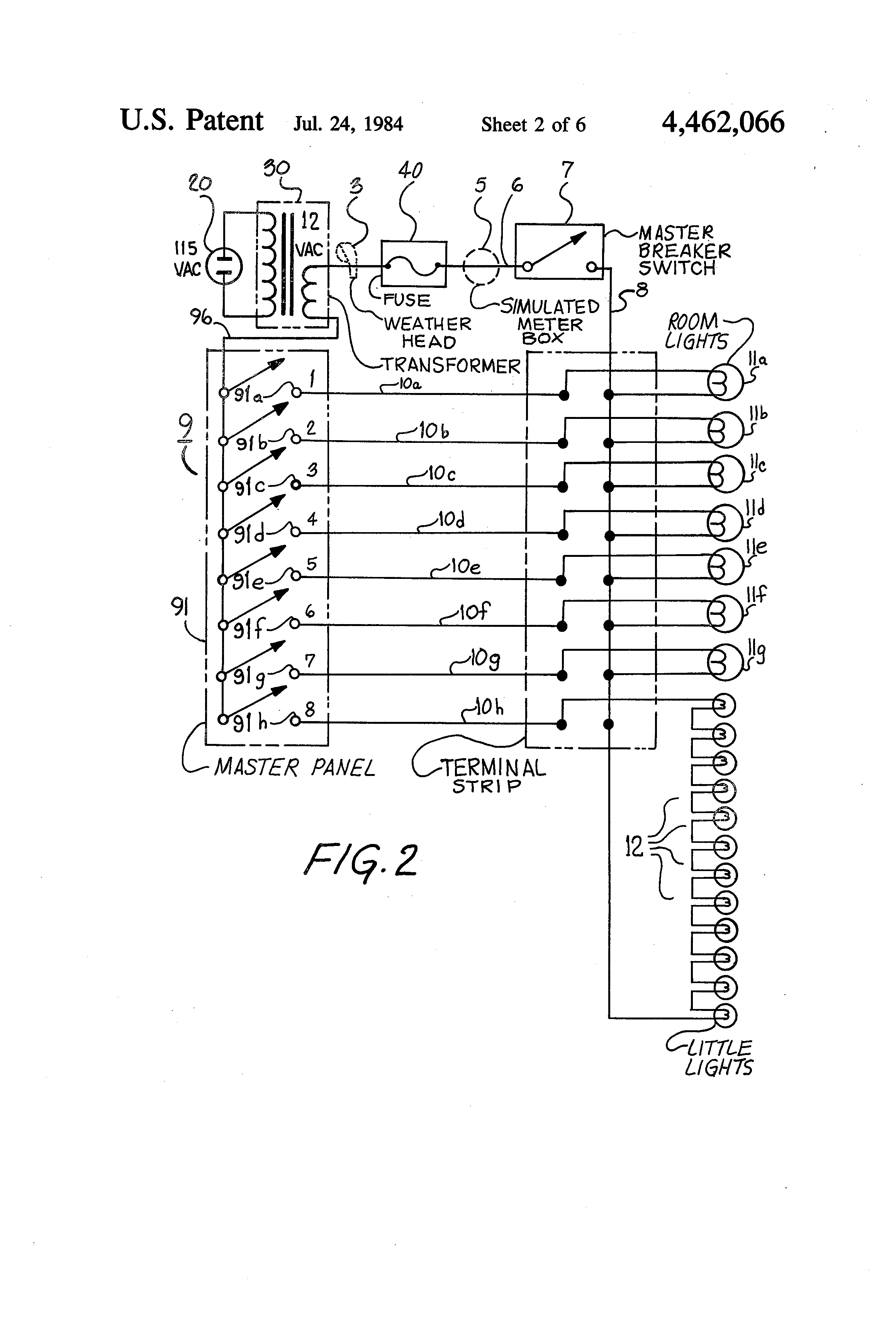 patent us4462066 - electrical light circuit for doll house and other miniature displays