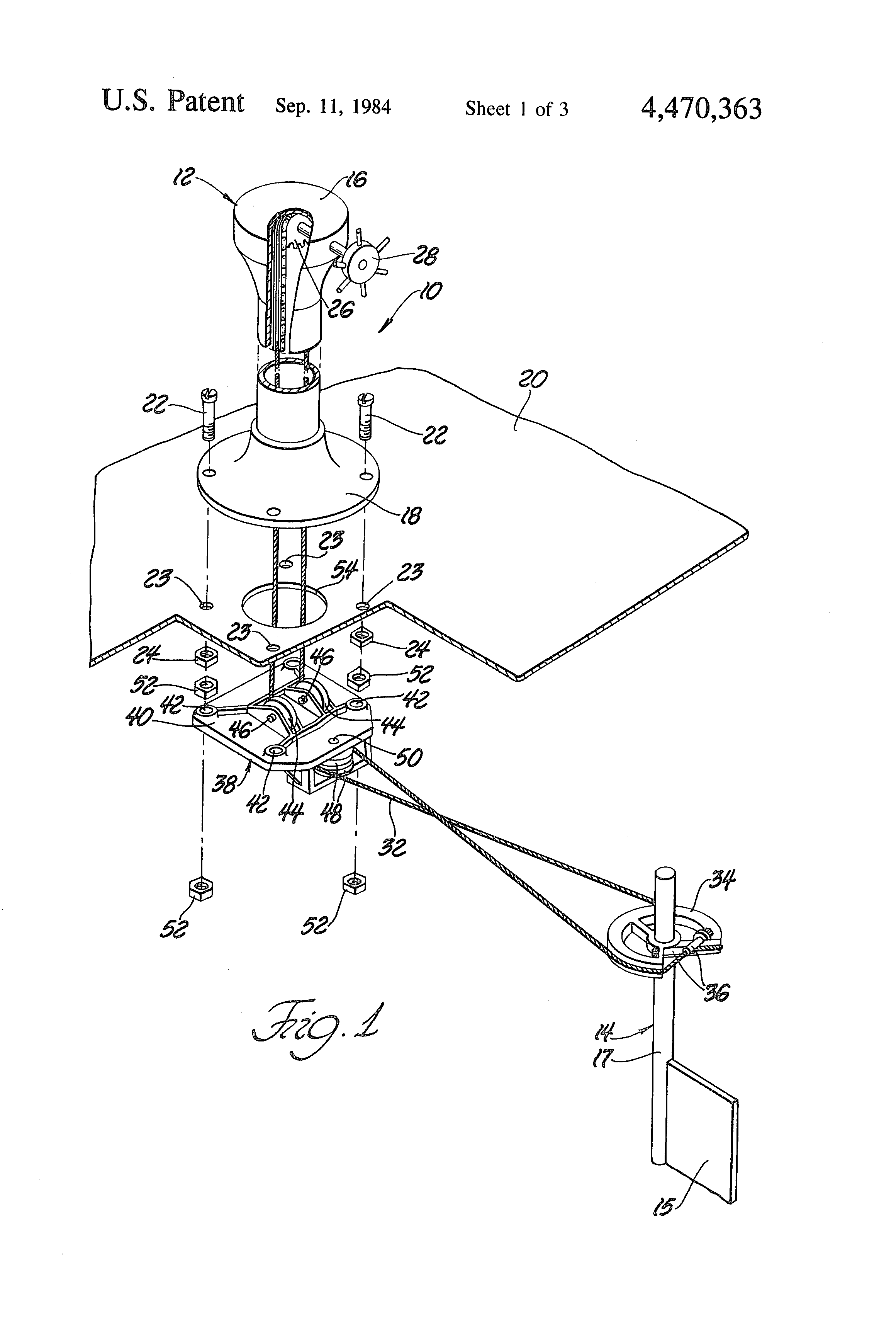 patent us4470363 - cable operated steering system