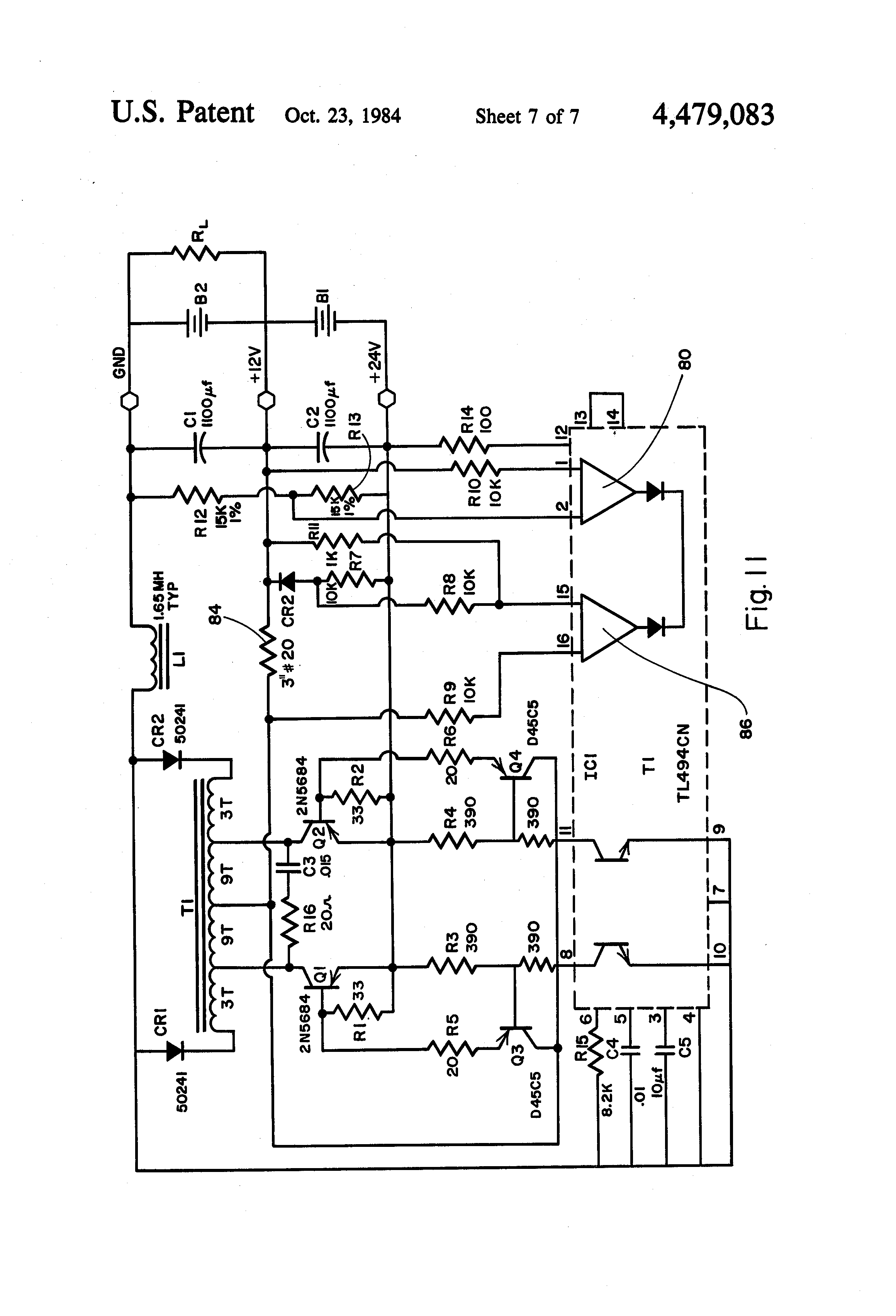 patent us4479083 dc power system having battery voltage patent drawing