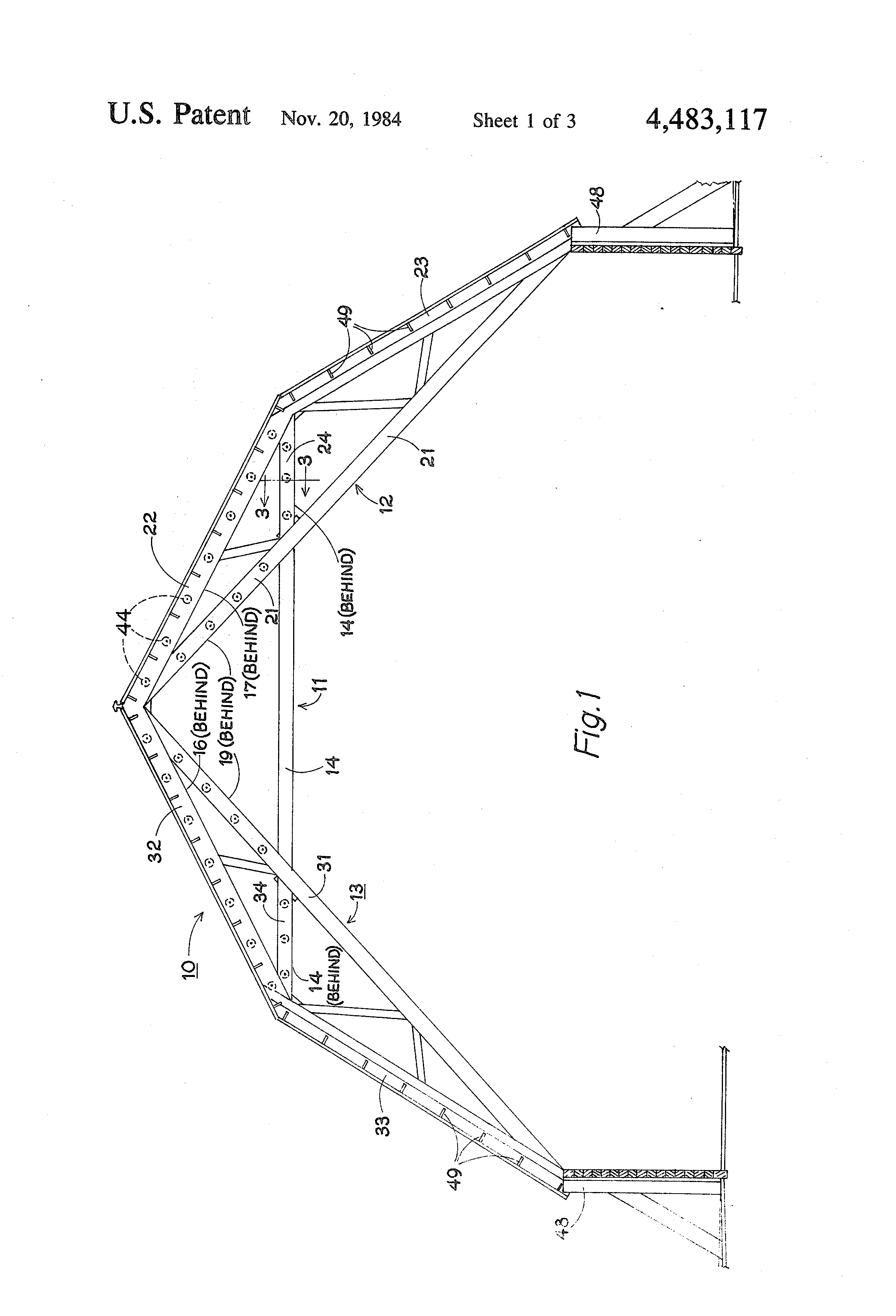 patent us4483117 composite gambrel roof truss with