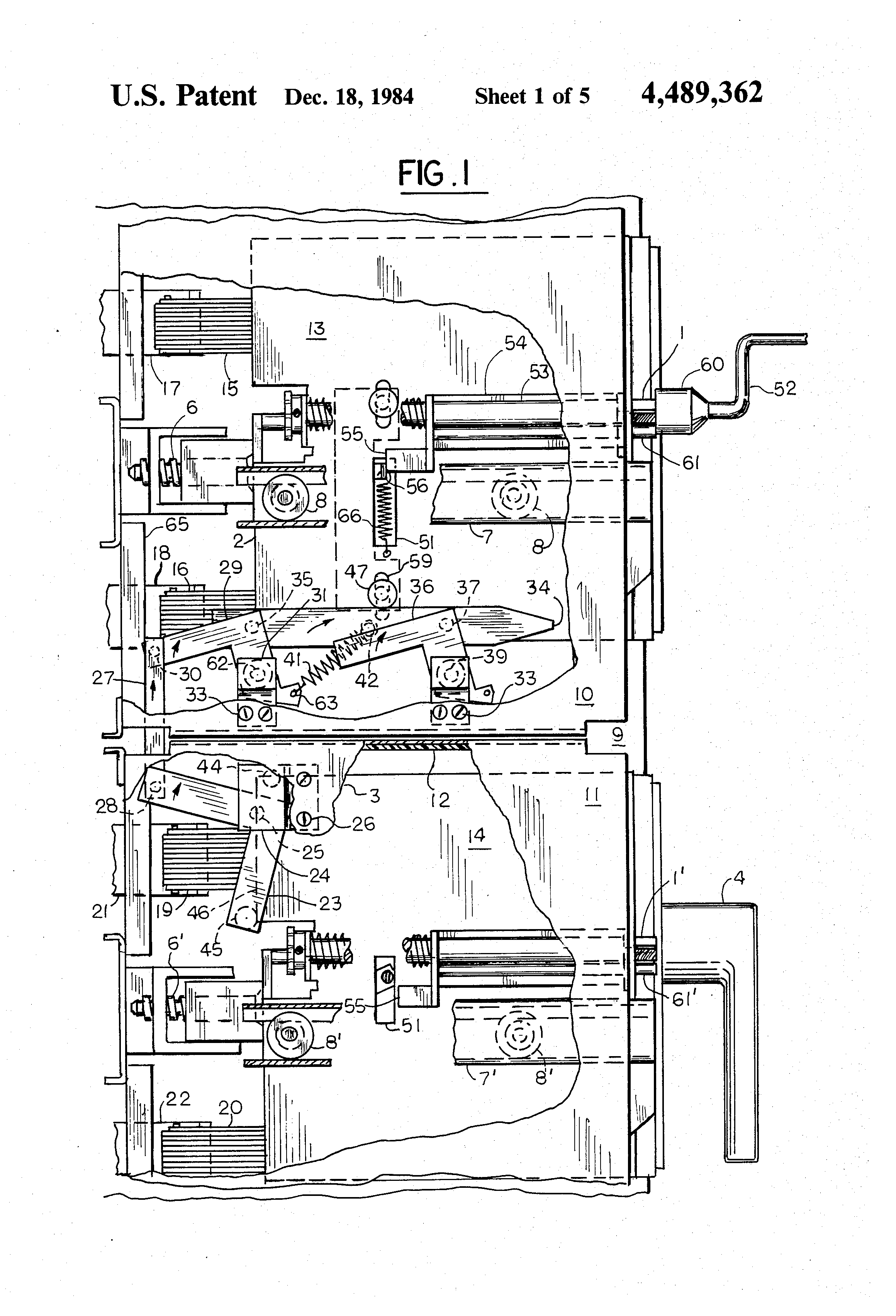 patent us4489362 - electric switchboard apparatus with a breaker-fuse interlock