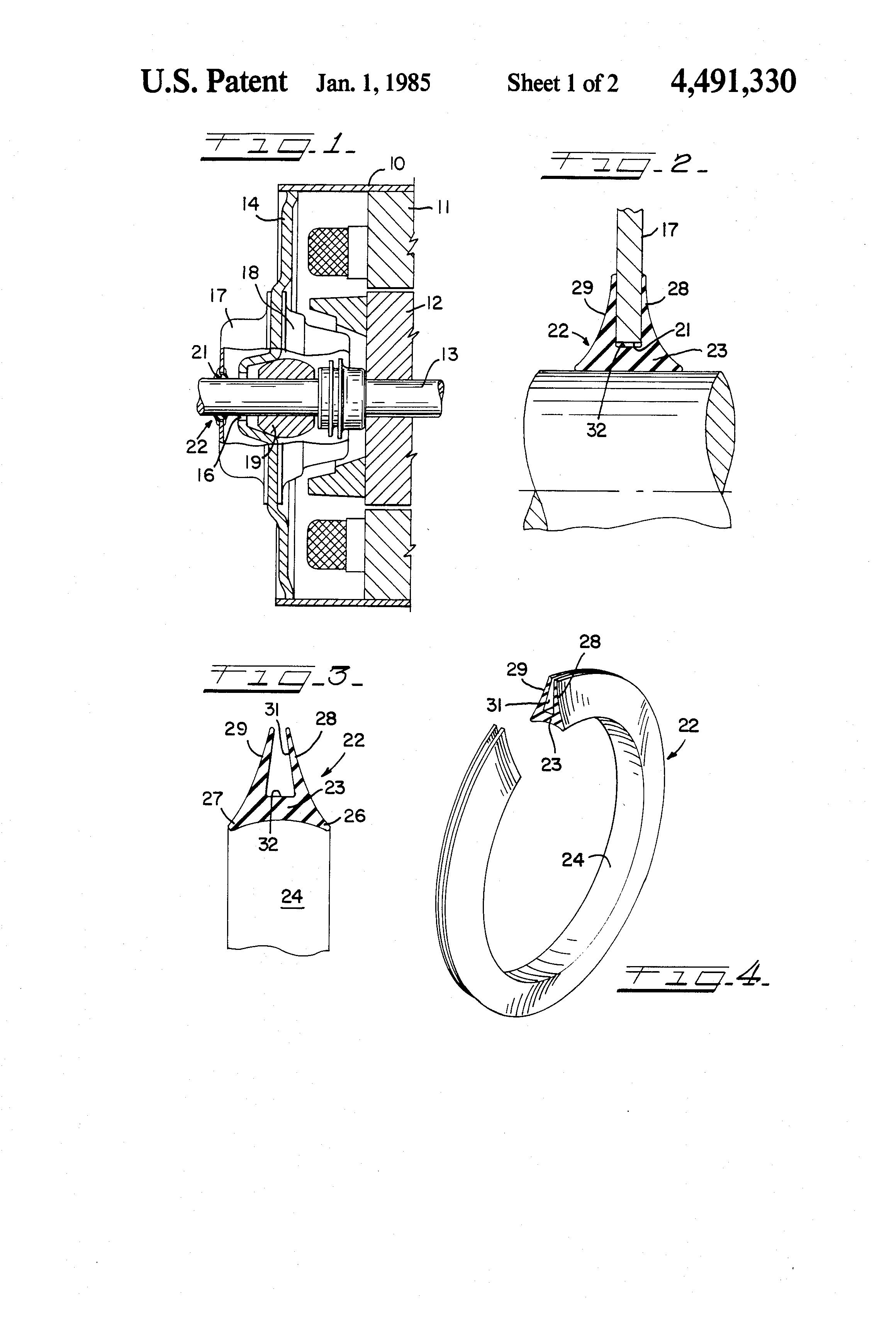 Patent Us4491330 - Rotary Lip Seal