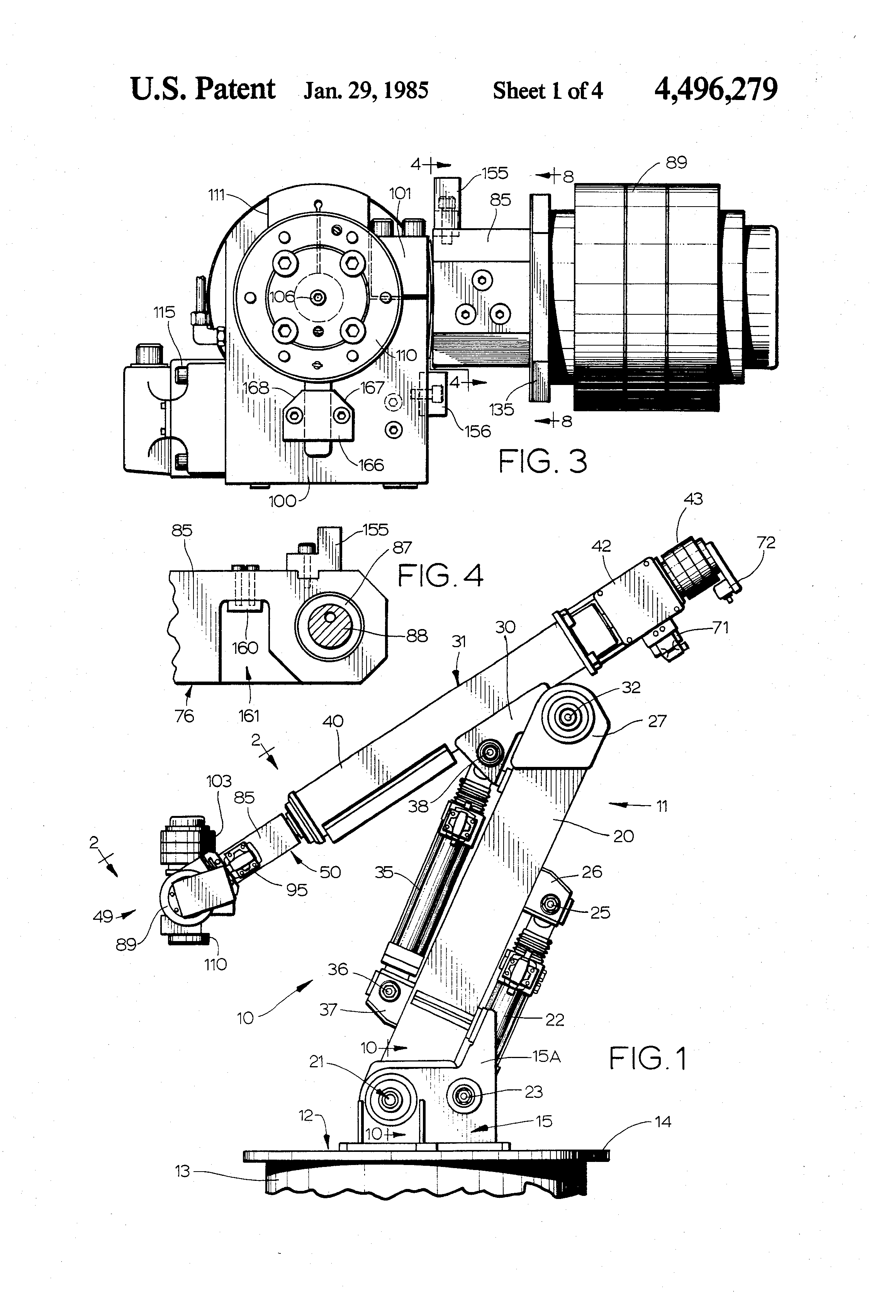 patent us4496279 - robot arm and wrist assembly