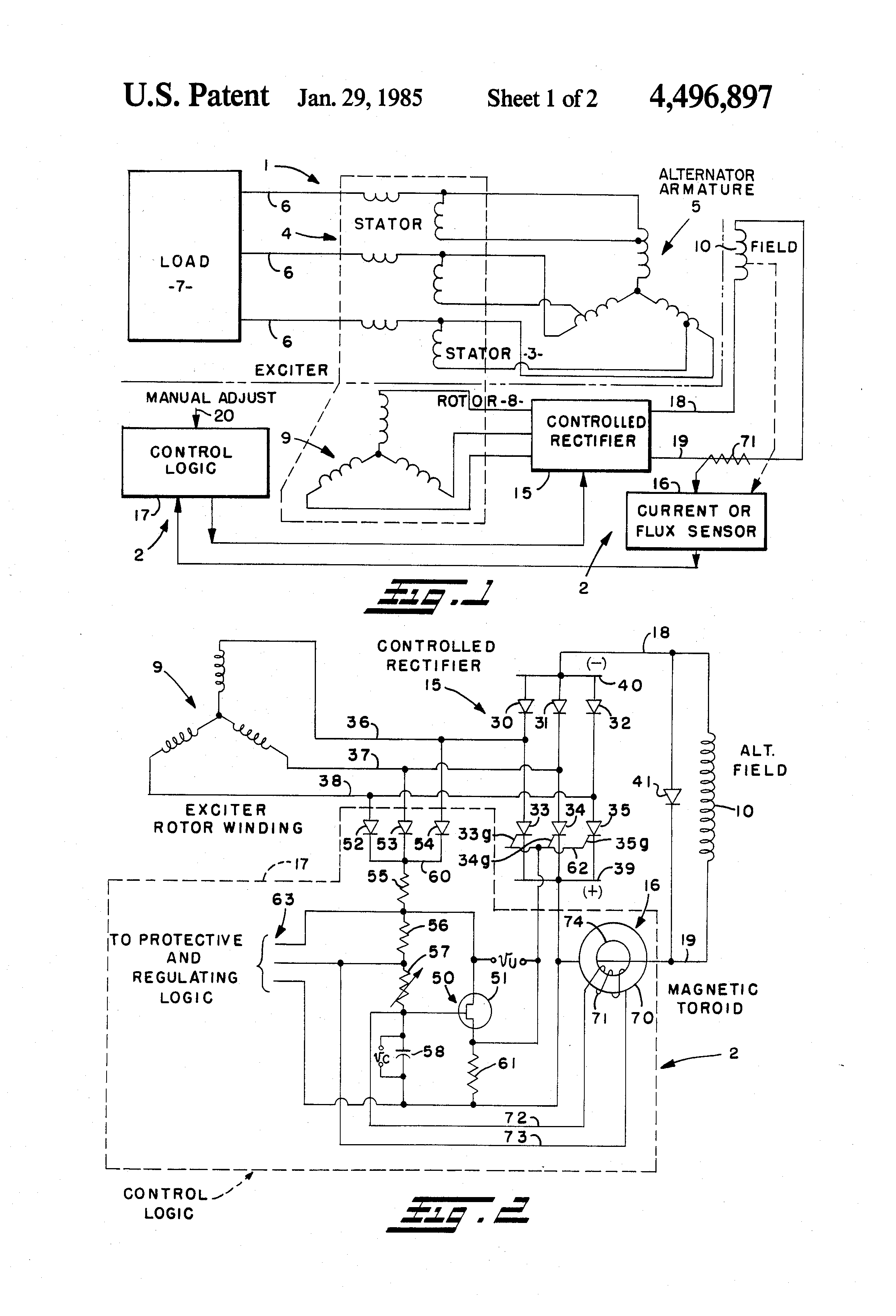 patent us4496897 variable voltage control for self excited self patent drawing