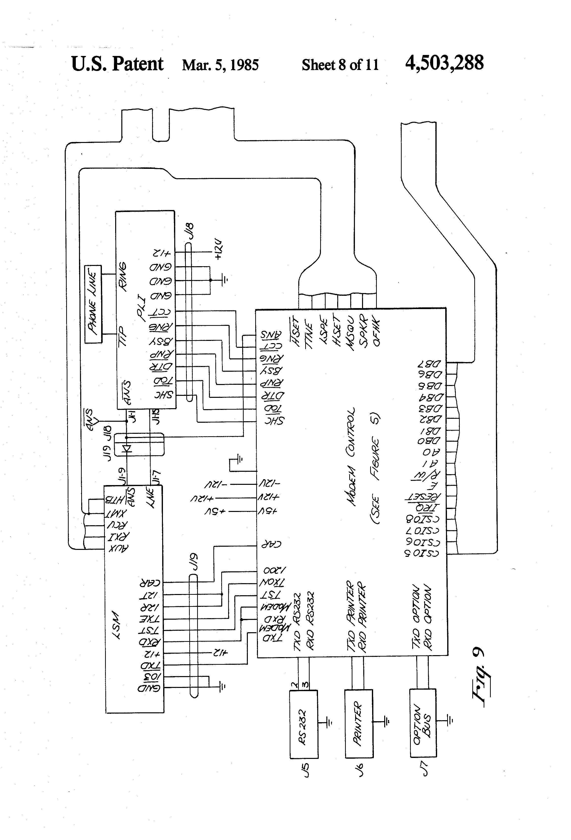 Patent Us4503288 Intelligent Telephone Google Patents Electronic Doorbell Circuit Designed For Deaf Persons Schematics Drawing