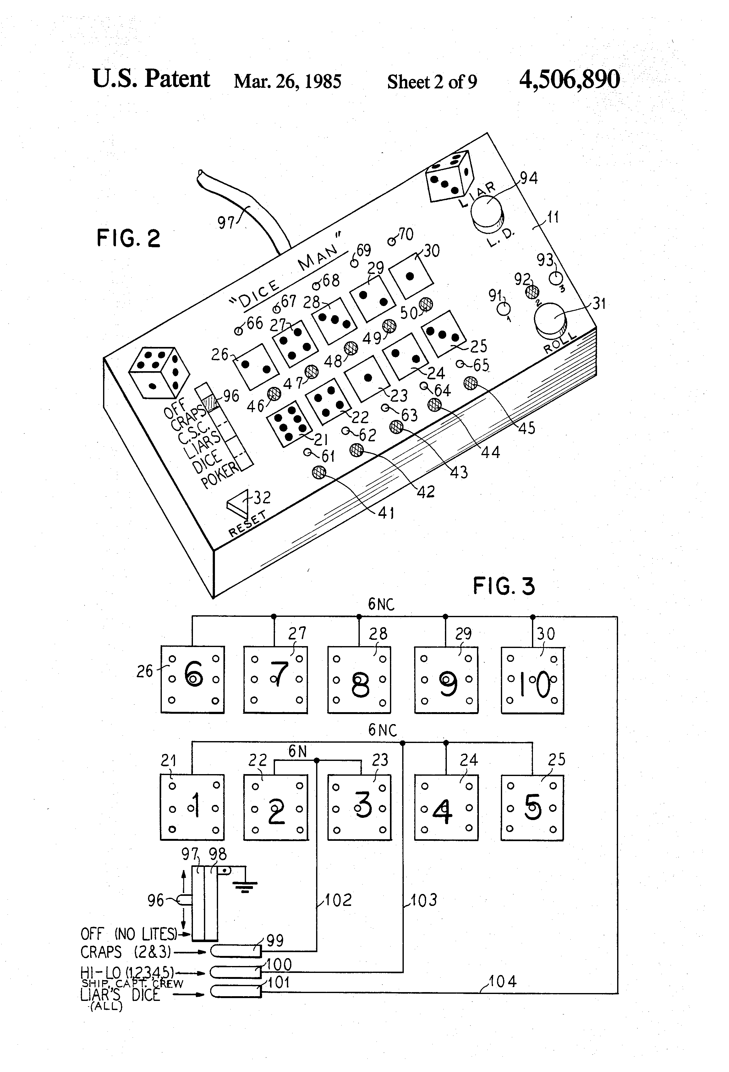 patent us4506890 - electronic dice game