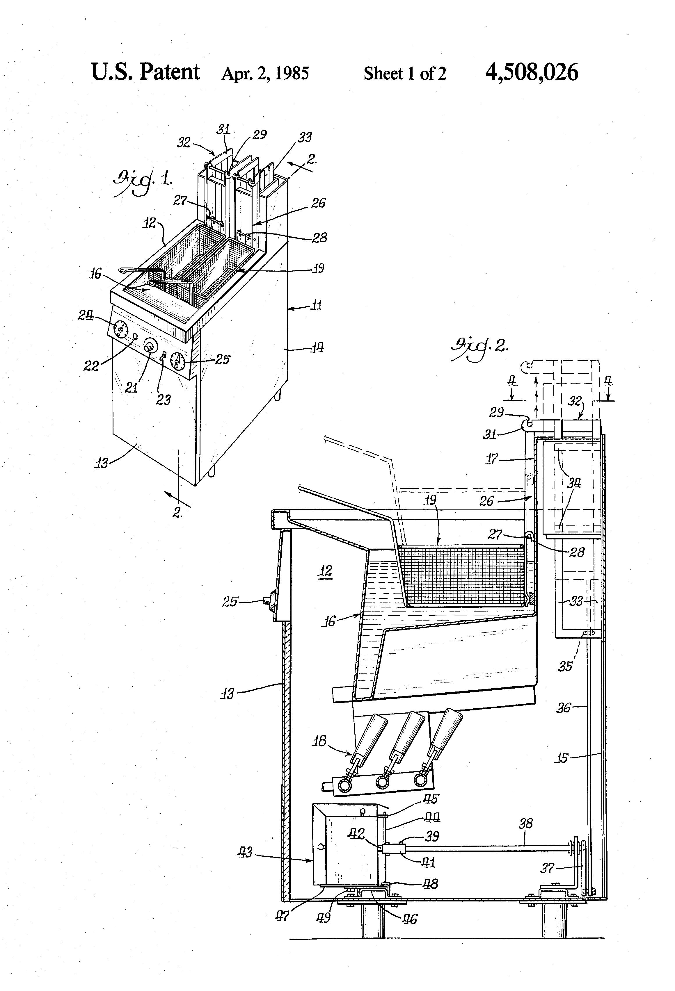 patent us4508026 - basket moving mechanism for deep fat fryer