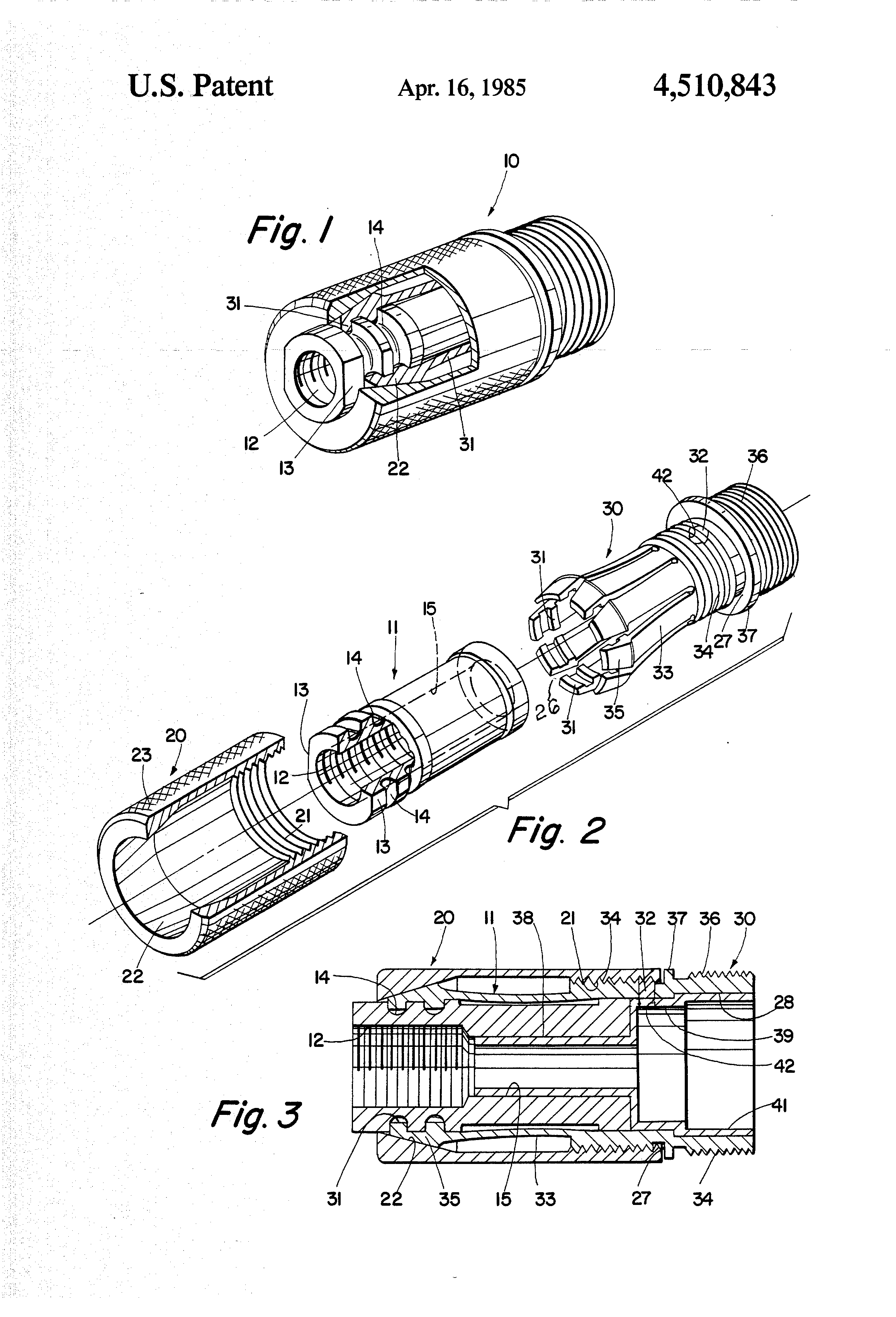 patent us4510843 - sound suppressor attaching device for guns