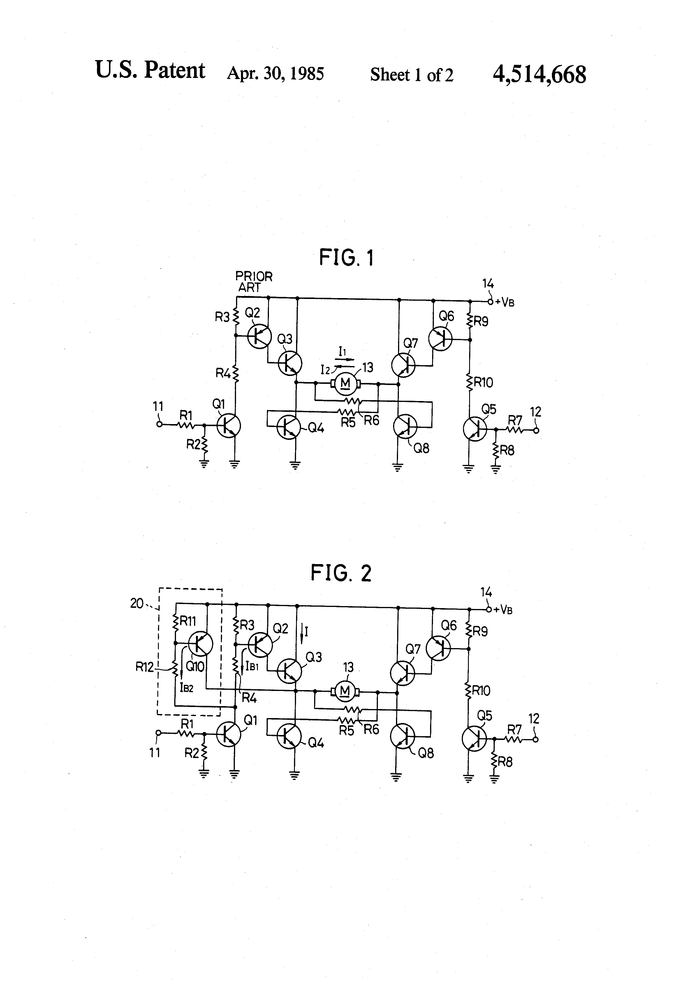 Patent Us4514668 Dc Motor Driving Circuit Google Patents Darlington Pair To Drive Schematic Diagram Wiring Drawing
